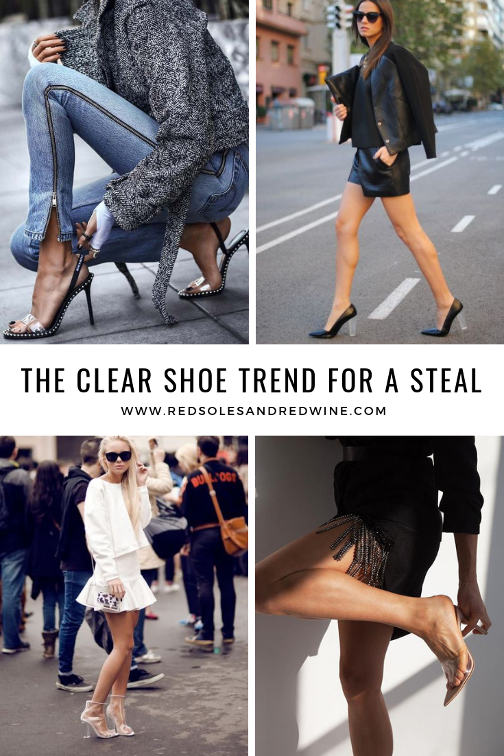 Jennifer woman, red soles and red wine, clear heels, clear shoes, luxe for less: clear heels, style steal clear heels, designer look for less, street style, PVC shoes, clear shoes trend, clear shoes outfit ideas, street style clear shoe trend, clear shoe trend for a steal