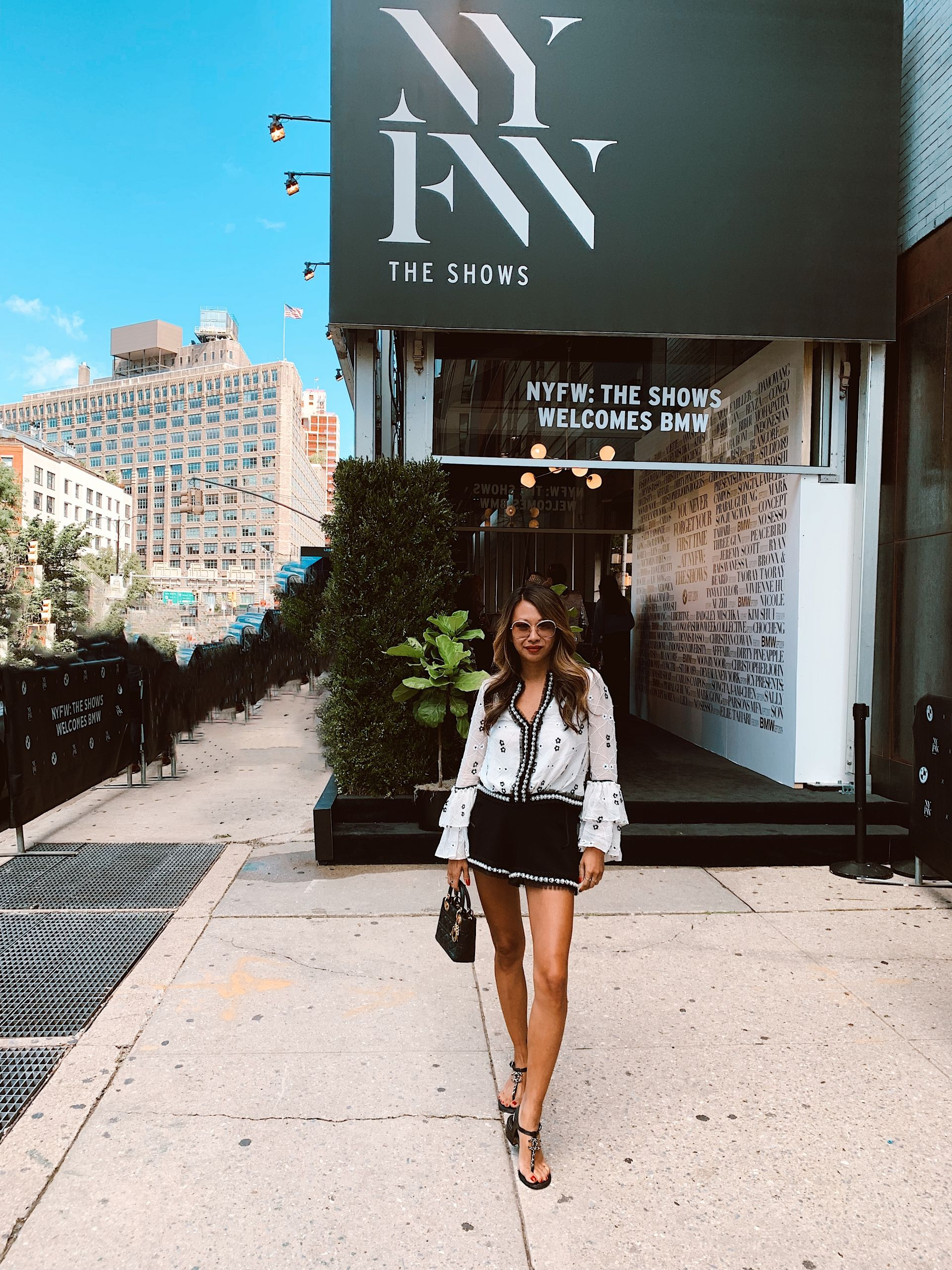 NYFW, NYFW 2019, New York fashion week 2019, New York fashion week as a blogger, truths about NYFW, fashion week, street style, New York style, outfit ideas, blogger, travel blogger, advice from a blogger, blogging advice, blogging tips, influencer tips, influencer advice, tips from an influencer on New York fashion week, fashion blogger, Jennifer woman, Red Soles and Red Wine, Alexis Floral Beaded Ruffled Tulle-Trim Blouse, and Kendrick Imitation Pearl-Trim A-Line Shorts