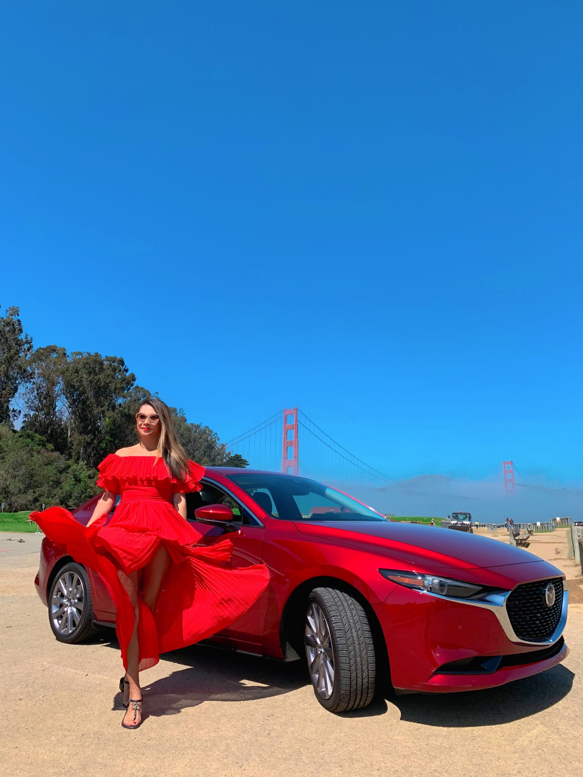 Mazda3 Sedan, best view of San Francisco, Best Instagram spots in San Francisco, Golden Gate Bridge, Marina SF, Jennifer Worman, Red Car in SF