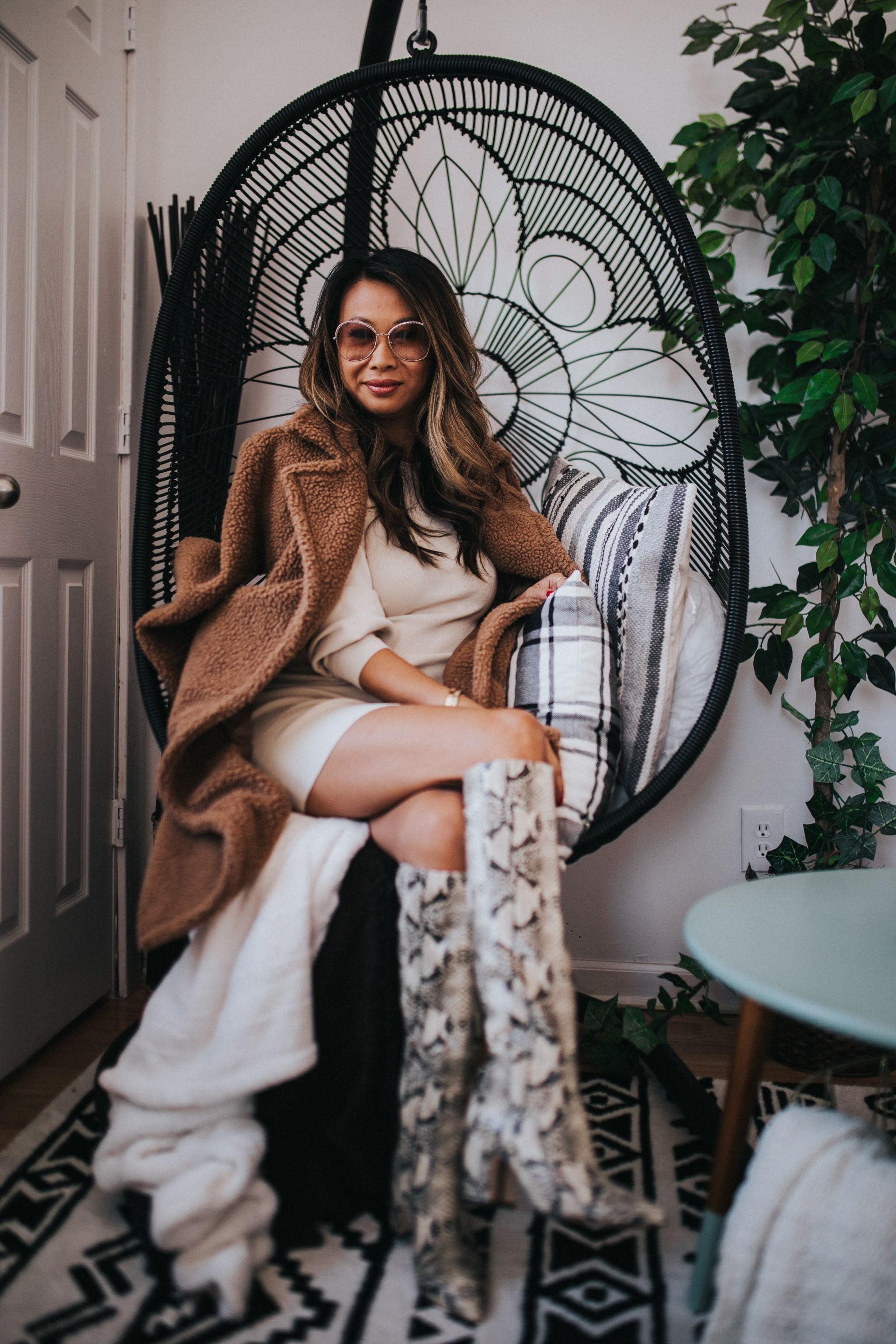 Jennifer Worman, Red Soles and Red Wine, fall styles, fall outfit ideas, outfit ideas, fall 2019 must haves, fall 2019 style, mom style, chicago blogger, sweater dress outfit ideas, teddy coat outfit ideas, how to style a sweater dress, snakeskin boots, how to style snakeskin boots for fall, how to wear a teddy coat for fall, Leith Long Sleeve Sweater Dress, Sam Edelman Hai Knee High Boot, Nordstrom shopping finds, nordstrom try on, nordstrom fall styles, teddy coats under $150