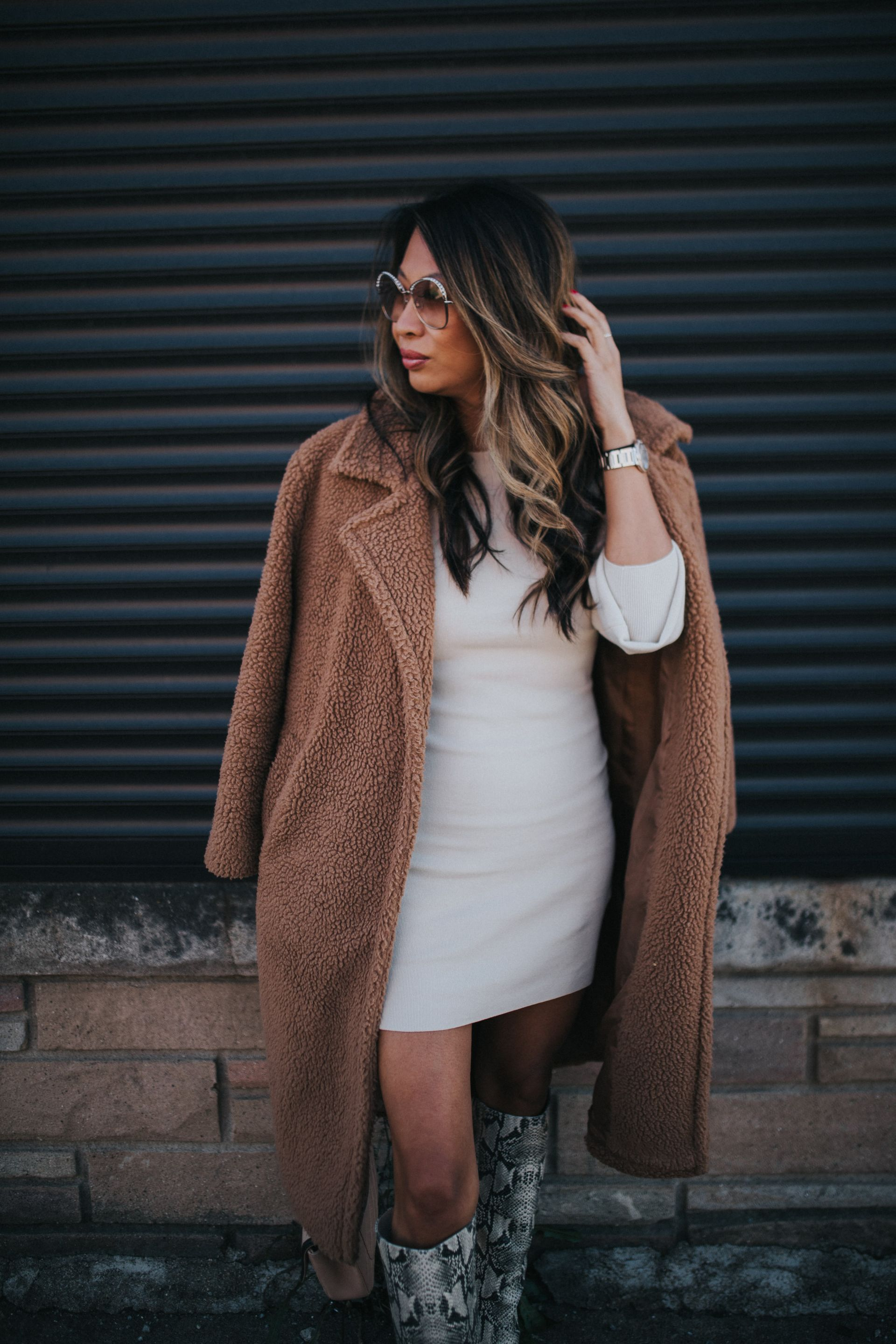 Jennifer Worman, Red Soles and Red Wine, fall styles, fall outfit ideas, outfit ideas, fall 2019 must haves, fall 2019 style, mom style, chicago blogger, sweater dress outfit ideas, teddy coat outfit ideas, how to style a sweater dress, snakeskin boots, how to style snakeskin boots for fall, how to wear a teddy coat for fall, Leith Long Sleeve Sweater Dress, Sam Edelman Hai Knee High Boot, Nordstrom shopping finds, nordstrom try on, nordstrom fall styles