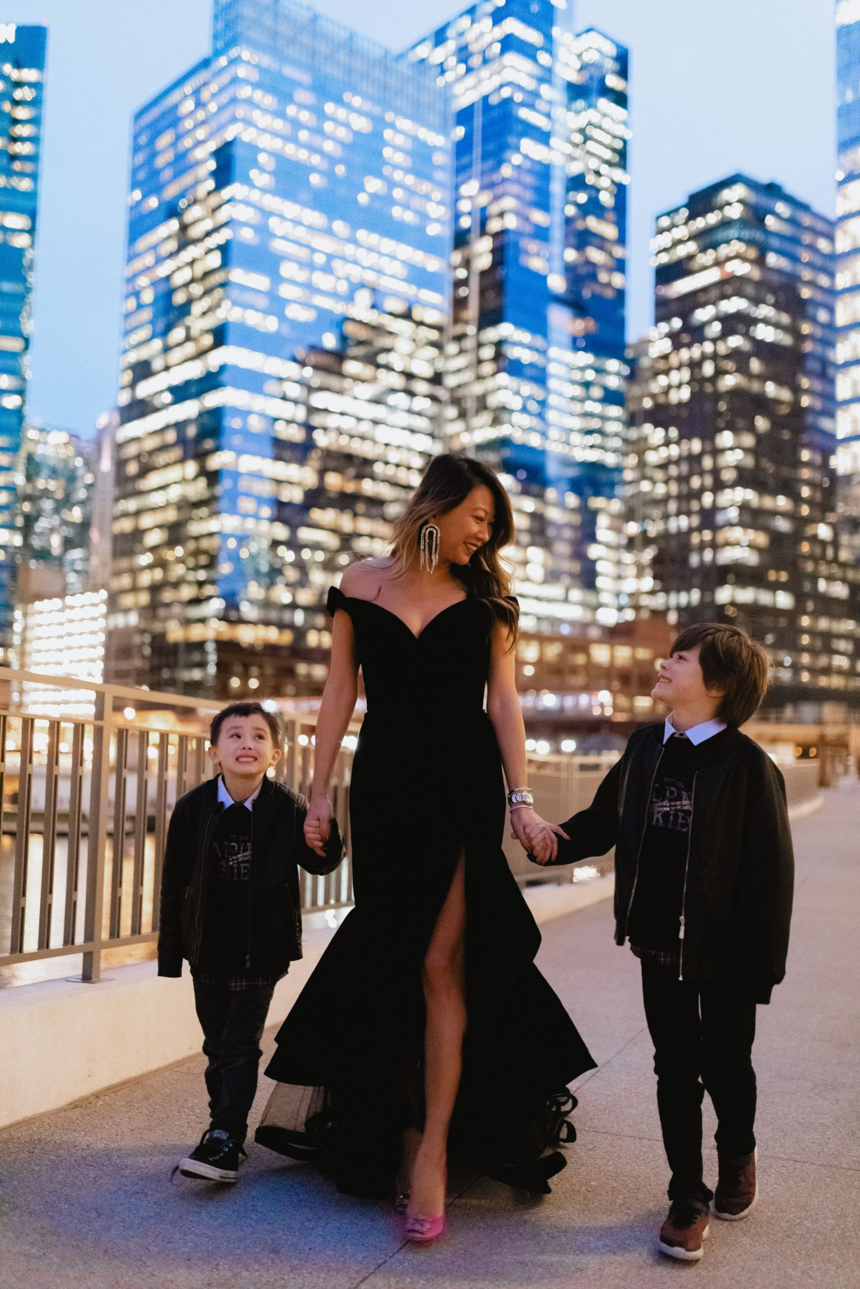 Chicago mom blogger, chicago fashion, single mom chicago, mac duggal velvet tulle dress, nordstrom mac duggal dress, holiday dress, off shoulder tiered velvet dress, best gala dress