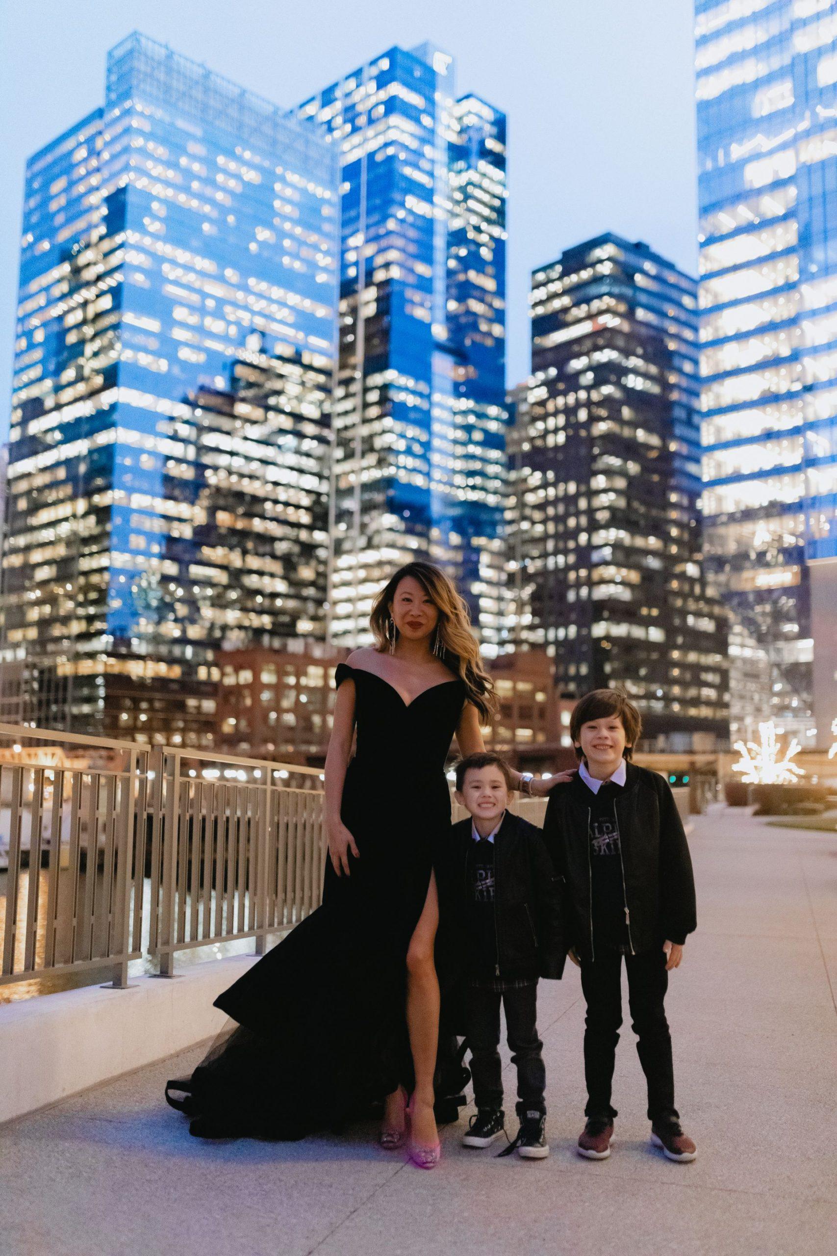 Chicago mom blogger, chicago fashion, single mom chicago, mac duggal velvet tulle dress, nordstrom mac duggal dress, holiday dress, off shoulder tiered velvet dress, best gala dress