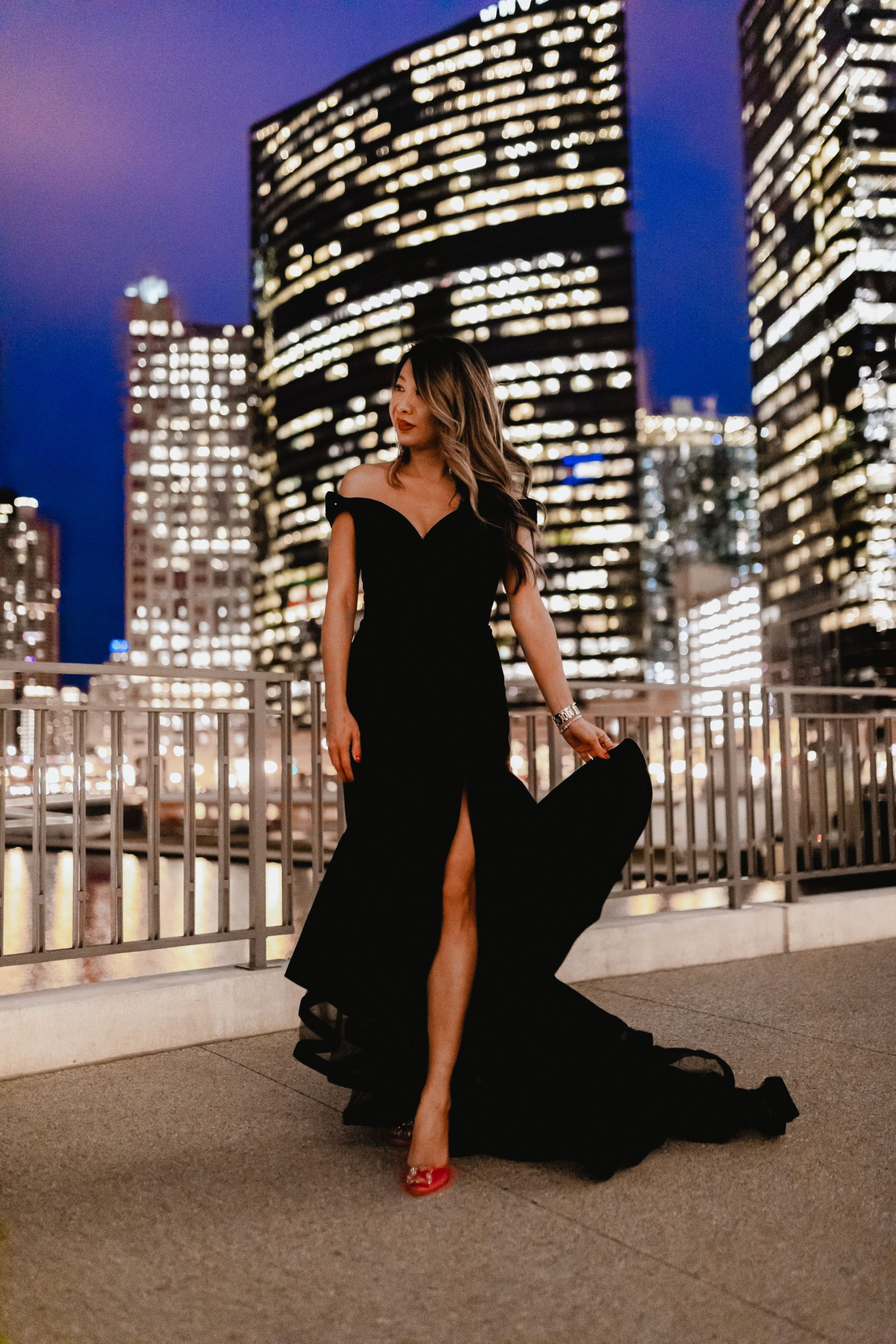 Best gala dress, velvet off shoulder Mac duggal dress, nordstrom holiday dress, gibson italia, chicago fashion blogger, jennifer worman