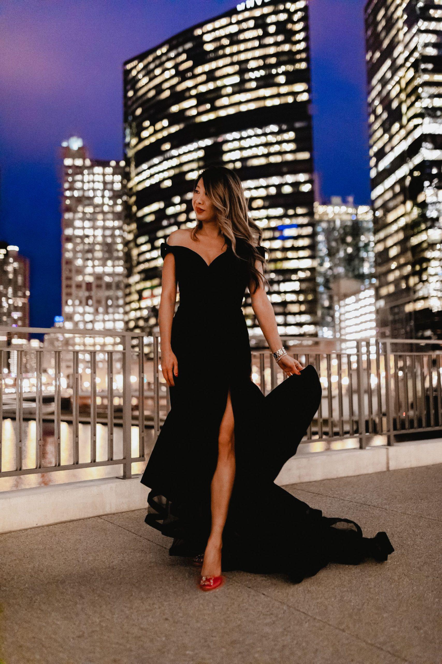 Best gala dress, velvet off shoulder Mac duggal dress, nordstrom holiday dress, gibson italia, chicago fashion blogger, jennifer worman
