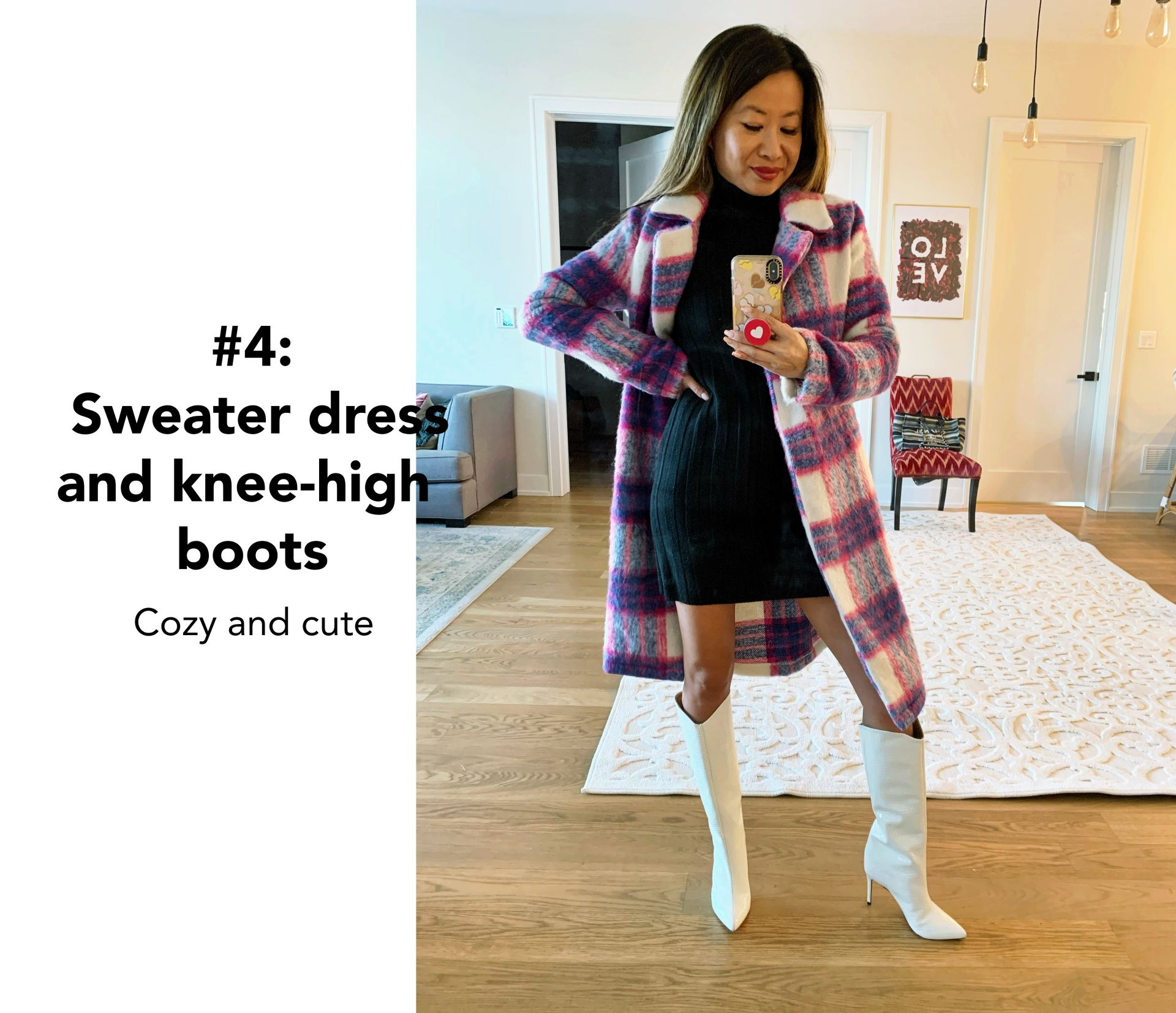 how to style a plaid coat, plaid coat, plaid coat outfits, plaid coats for women, red and blue plaid coat, red plaid coat, plaid coat street style, plaid coat style, long plaid coat, winter plaid coat, winter outfit ideas, printed coat style, how to style a plaid coat 6 ways, Jennifer Worman, Chicago blogger, style blogger, blogger outfits, blogger style, how to style a sweater dress, how to style a plaid coat with a sweater dress and knee high boots, knee high boots outfit ideas, sweater dress style, knee high boots style