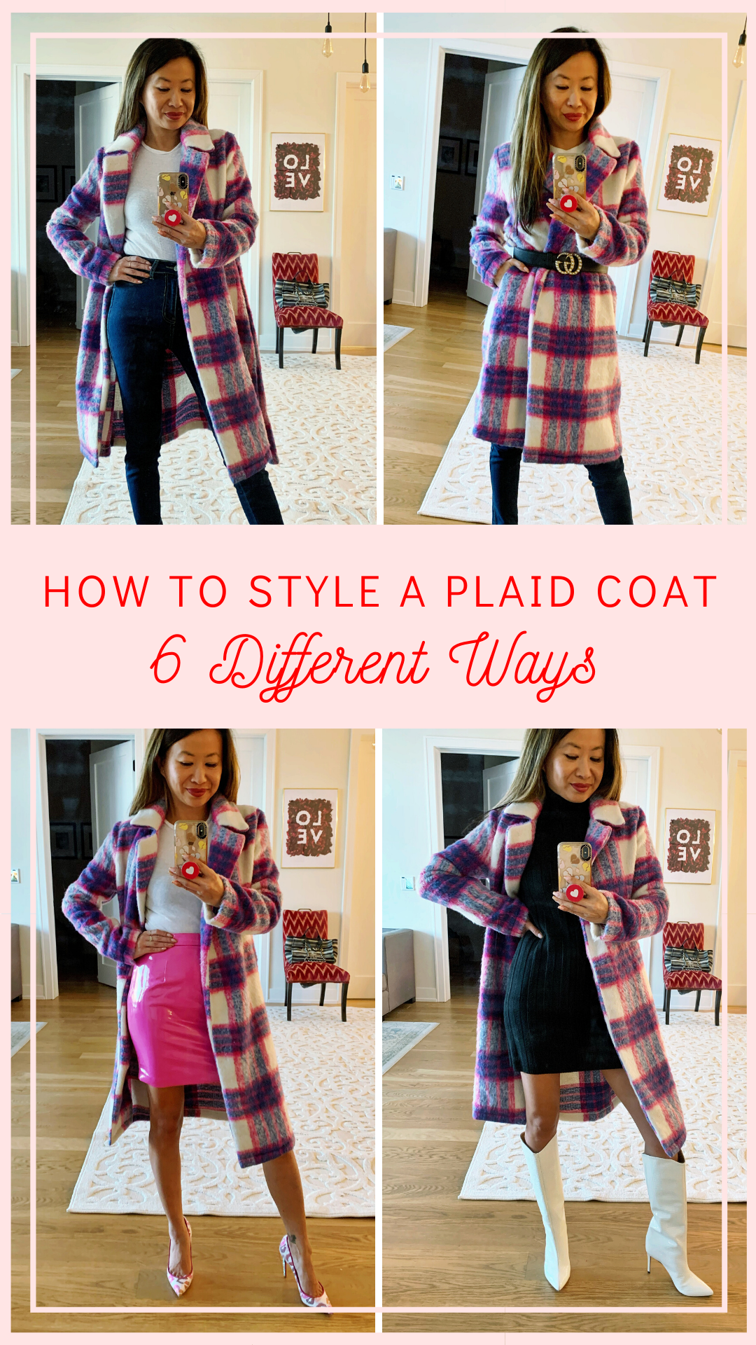 how to style a plaid coat, plaid coat, plaid coat outfits, plaid coats for women, red and blue plaid coat, red plaid coat, plaid coat street style, plaid coat style, long plaid coat, winter plaid coat, winter outfit ideas, printed coat style, how to style a plaid coat 6 ways, Jennifer Worman, Chicago blogger, style blogger, blogger outfits, blogger style