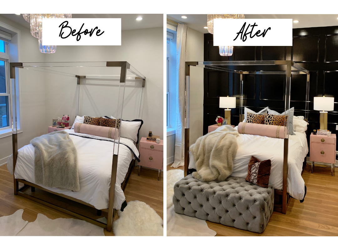 before and after glam bedroom design, interior design before and after, glam bedroom design for less than $200, glam bedroom decor ideas, glam bedroom, black accent wall, black wainscotting, accent wall ideas, pink black white and leopard print bedroom ideas, pink nightstands for bedroom, leopard pillows, bedroom design, bedroom design ideas, girly bedroom design, pink bedroom design, feminine bedroom style, Parisian bedroom design, Parisian bedroom inspiration, bedroom design inspiration, interior decor, interior design, home decor ideas, black and white bedroom, fashion inspired bedroom, glam bedroom ideas
