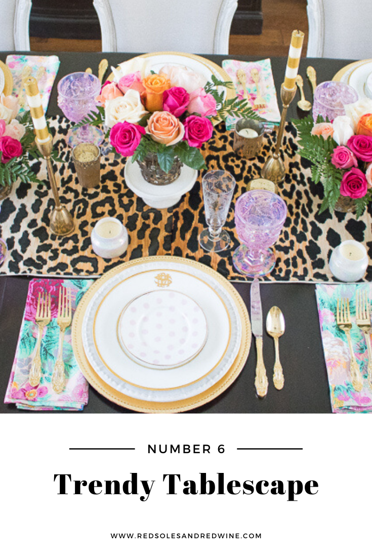 5 ways to add leopard into your home, leopard home decor, leopard home designs, leopard room design, leopard furniture, leopard chairs, leopard pillows, leopard bench, animal print home trends, animal print home decor, animal print interior design, interior design tips, home inspiration, home inpiration images, feminine home decor, feminine home design, home blogger, Jennifer Worman, Red Soles and Red Wine, leopard tables cape ideas, leopard table top items, leopard table decor, leopard kitchen decor, leopard table settings, leopard party table ideas
