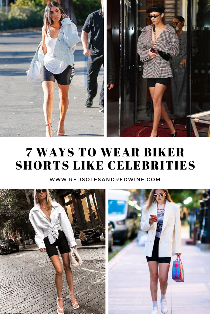 Ways to Wear Biker Shorts Like Celebrities, biker shorts outfit ideas, cycling shorts outfit, how to Wear Biker Shorts Like a celebrity, biker shorts, how to style biker shorts, black biker shorts, street style, street style biker shorts, street style outfits, outfit ideas, womens outfit ideas, celeb style, celebrity style inspiration, biker shorts celebrity style, style inspiration, Jennifer Worman, Red Soles and Red Wine, Kardashians biker shorts, wear biker shorts like Kardashians, Bella Hadid, Em Rata, Gigi Hadid