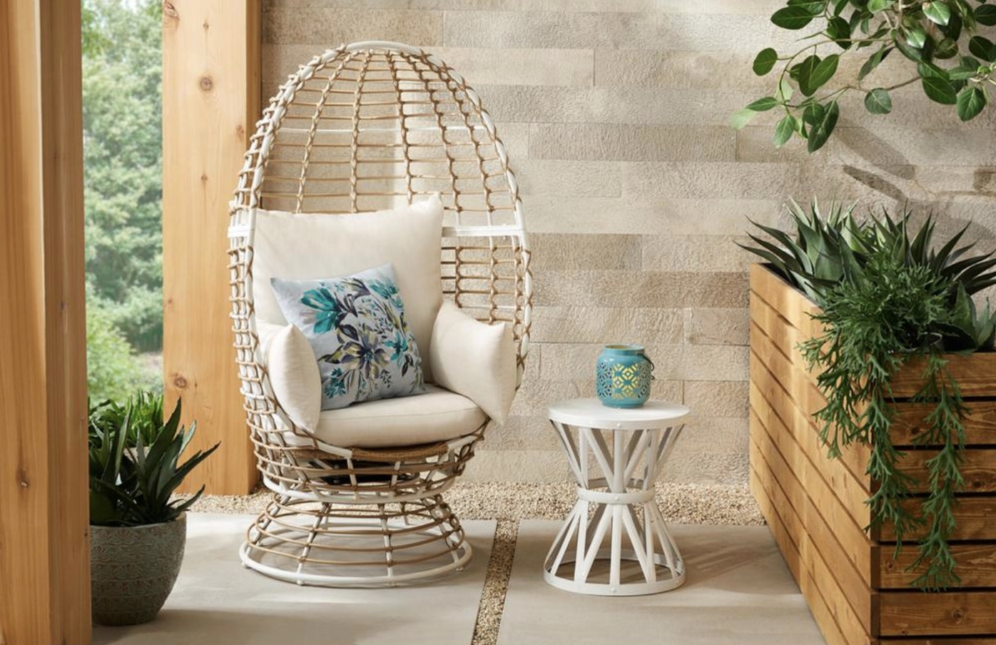 Target Southport Patio Egg Chair, Target Southport Patio Egg Chair dupes, affordable dupes for the Target Southport Patio Egg Chair, egg chair inspiration, egg chair home ideas, egg chairs, wicker egg chairs, hanging egg chairs, interior, home decor, home interior, interior styling, target dupes, patio furniture, patio furniture inspiration, Jennifer Worman, Red Soles and Red Wine, Brown Wicker Outdoor Patio Egg Lounge Chair with Beige Cushions