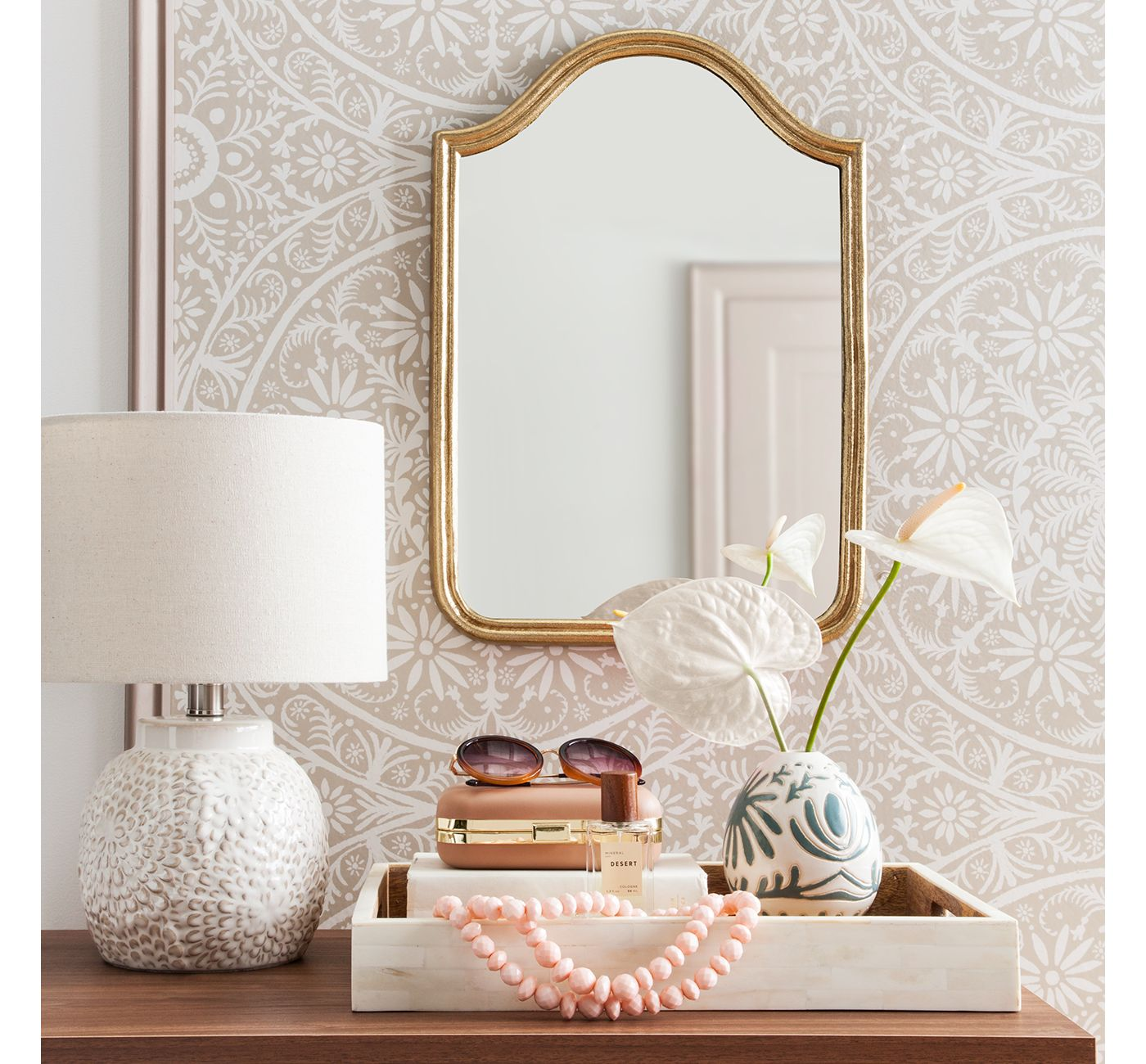 Anthropologie Gleaming Primrose Mirror, Anthropologie Gleaming Primrose Mirror dupes, affordable dupes for the Gleaming Primrose Mirror, gold mirror home ideas, gold mirror home decor, gold mirror home styling, gold mirror home inspiration, interior, home decor, home interior, interior styling, anthropologie dupes, glam home style, glam home inspiration, Jennifer Worman, Red Soles and Red Wine, Decorative Wall Mirror Gold - Opalhouse™