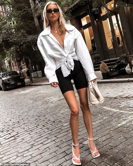 Ways to Wear Biker Shorts Like Celebrities, biker shorts outfit ideas, cycling shorts outfit,how to Wear Biker Shorts Like a celebrity, biker shorts, how to style biker shorts, black biker shorts, street style, streetstyle biker shorts, street style outfits, outfit ideas, womens outfit ideas, celeb style, celebrity style inspiration, biker shorts celebrity style,style inspiration, Jennifer Worman, Red Soles and Red Wine,Elsa Hosk