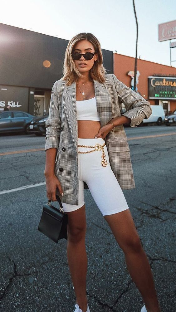 plaid blazer biker shorts outfit, Ways to Wear Biker Shorts Like Celebrities, biker shorts outfit ideas, cycling shorts outfit,how to Wear Biker Shorts Like a celebrity, biker shorts, how to style biker shorts, black biker shorts, street style, streetstyle biker shorts, street style outfits, outfit ideas, womens outfit ideas, celeb style, celebrity style inspiration, biker shorts celebrity style,style inspiration, Jennifer Worman, Red Soles and Red Wine,