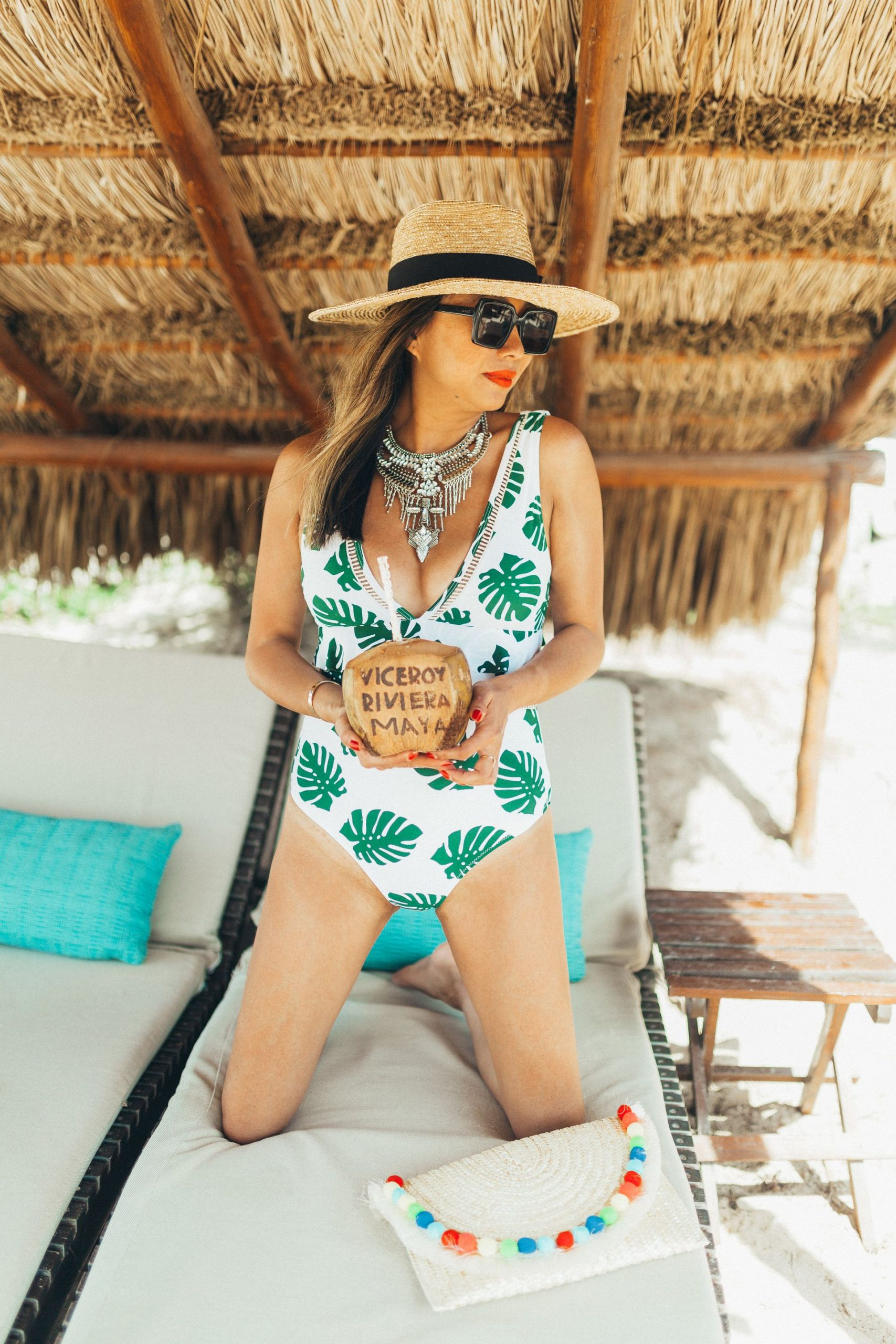 Amazon swimwear, palm leaf swimsuit, one piece swimsuit amazon palm leaf, jennifer worman, swimsuit steal, cupshe leaf swim