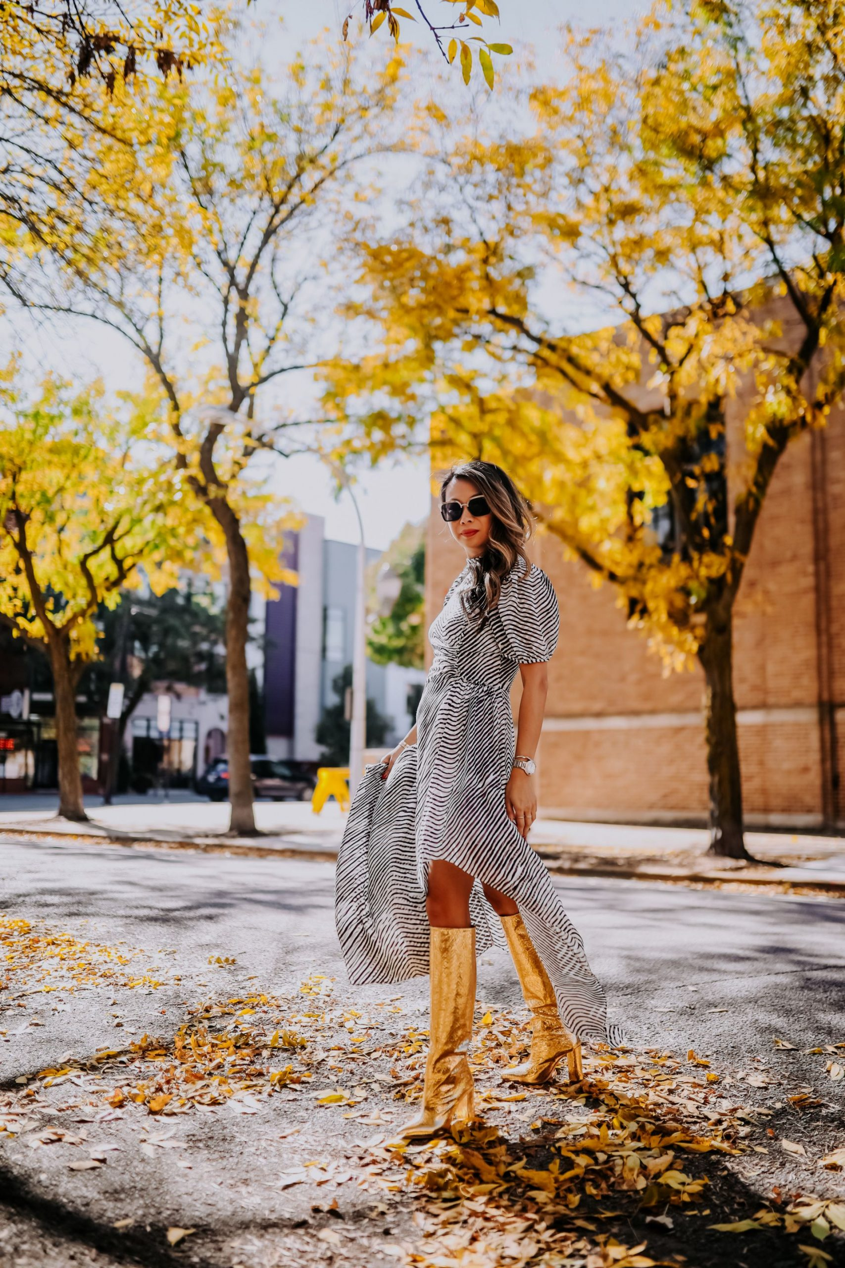 Paris Texas Gold Boots, Jennifer Worman, Tanya Taylor Dress, How to style knee high boots, gold boots, Chicago blogger