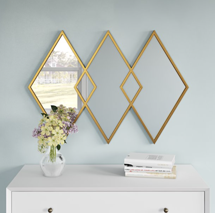 Gold diamond entryway mirror styling inspiration