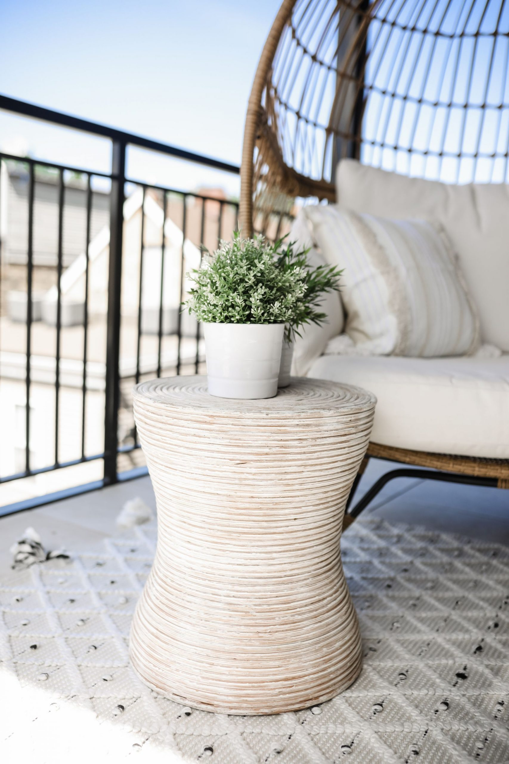 Manuela Global-Inspired End Table from Wayfair, boho outdoor patio end table inspiration