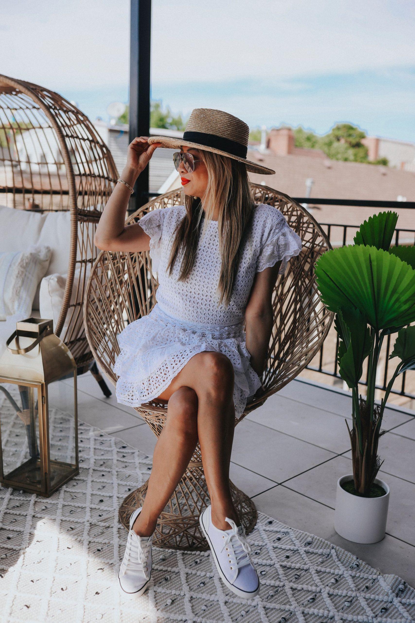 30 Dresses under $100, must have dresses for Summer, white dresses for Summer, how to style a white dress, pretty white dresses for a steal, white dress style, Place Nationale Eyelet Dress