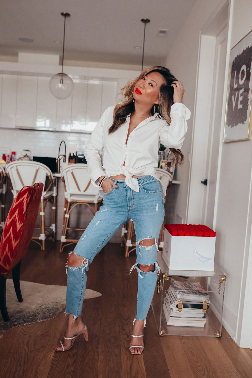 Reformation Preston Top, white button down outfit ideas, button down shirt outfit, how to style a button down shirt, outfit ideas, wadrobe essentials for women, outfit ideas for women, women's style, Lovers + Friends Ricky Skinny Jean, Red Soles and Red Wine, Jennifer Worman