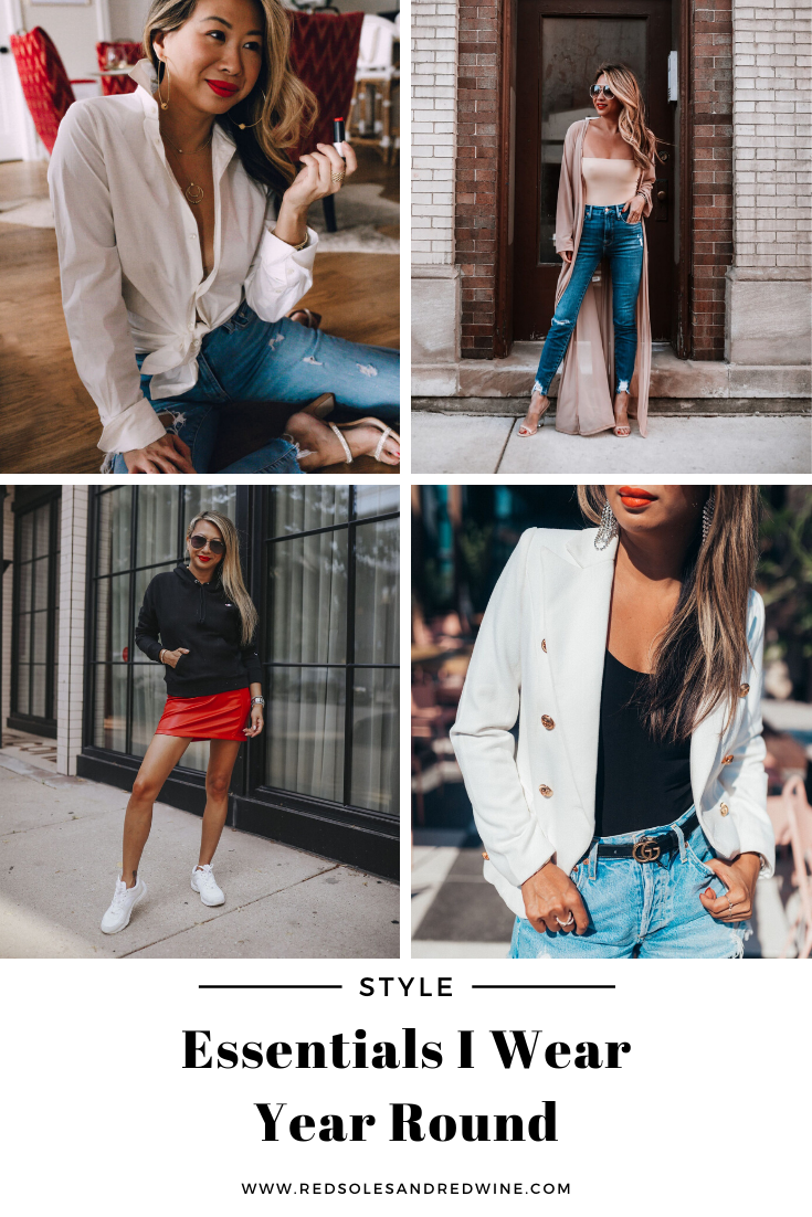 wardrobe essentials I wear year round, wardrobe items that every woman needs, must haves for every wardrobe, button down shirt, skinny jeans, black dress, gold hoops, tank bodysuit, sneaker, outfit ideas for women, outfit ideas, styling ideas, Red Soles and Red Wine, Jennifer Worman