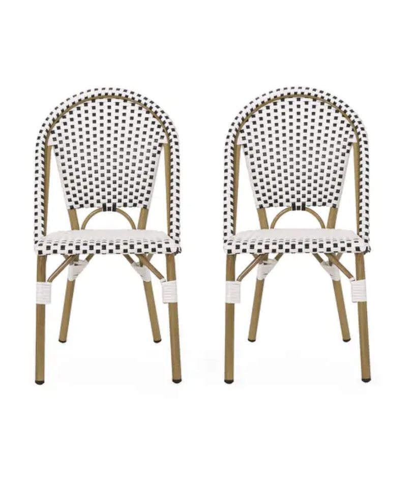 Elize Outdoor French Bistro Chair (Set of 2) by Christopher Knight Home, Serena & Lily Riviera Side Chair Dupes, Serena & Lily Riviera Counter Stool Dupes, Serena & Lily dupes, Serena & Lily look for less, rattan dining chairs, bistro dining chairs, rattan counter stools, bistro counter stools, interior designs, dining chair ideas, counter stool ideas, on trend dining chairs, on trend counter stools, kitchen ideas, kitchen designs, dining room ideas, Red Soles and Red Wine, Jennifer Worman