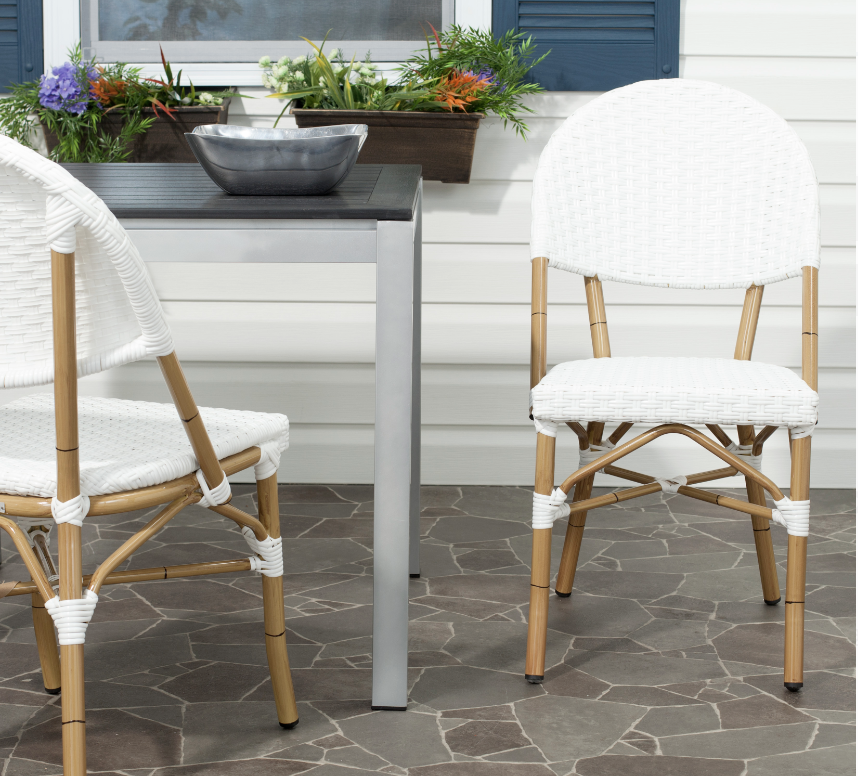 Safavieh Barrow Outdoor Patio Stacking Chair Walmart, Serena & Lily Riviera Side Chair Dupes, Serena & Lily Riviera Counter Stool Dupes, Serena & Lily dupes, Serena & Lily look for less, rattan dining chairs, bistro dining chairs, rattan counter stools, bistro counter stools, interior designs, dining chair ideas, counter stool ideas, on trend dining chairs, on trend counter stools, kitchen ideas, kitchen designs, dining room ideas, Red Soles and Red Wine, Jennifer Worman