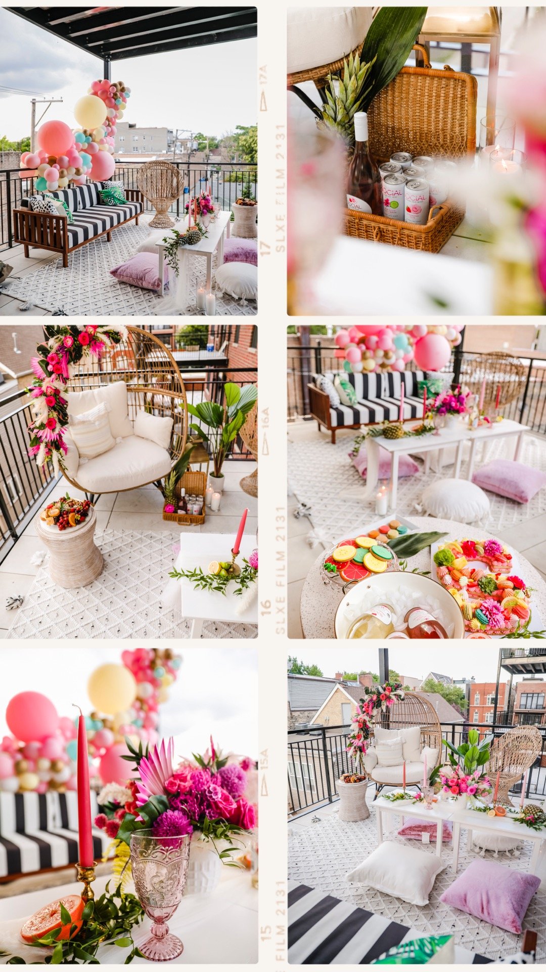 glam patio inspo, glam patio party, instagrammable parties, best patio party inspiration, jennifer worman home, stripe couch patio, best patio decor, best patio design, chicago blogger, chicago home, Jennifer worman, balloon arch inspiration