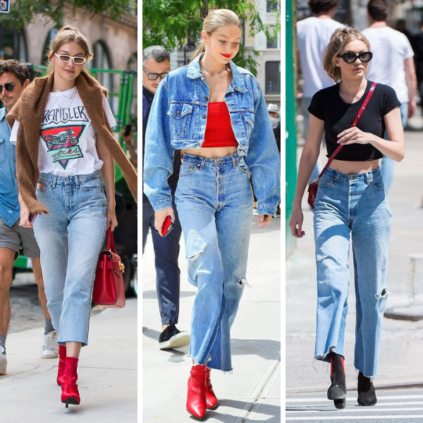 How to dress like a celebrity for Fall, Gigi Hadid Fall Denim Inspiration, Gigi Hadid style, Gigi Hadid outfits, outfit ideas for women, fall outfit ideas for women, best denim for Fall, fall denim trends, fall 2020 denim trends, denim outfit ideas for fall, Jennifer Worman, Red Soles and Red Wine