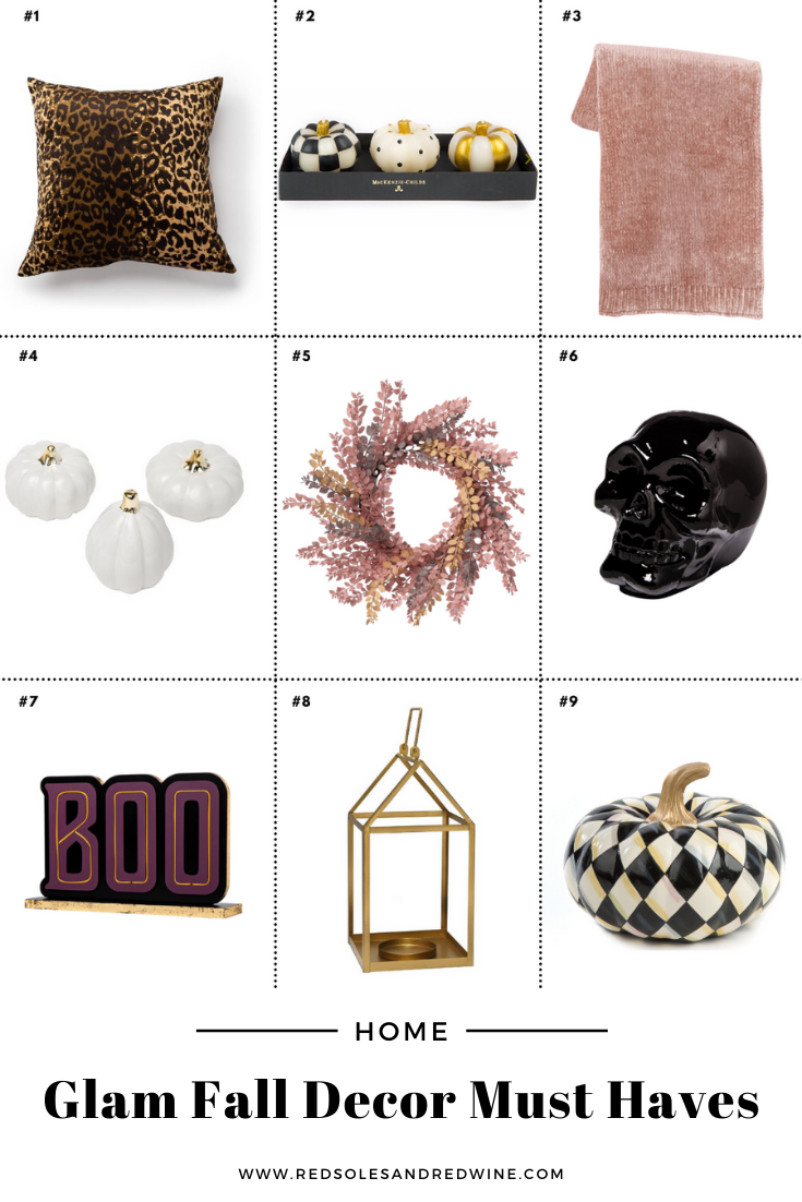 glam fall decor, glam fall indoor decor ideas, glam decor ideas, fall decor ideas, indoor fall decor, must have glam decor for fall, glam fall interior designs, black and white fall decor, black white gold and pink fall decor, nontraditional fall decor, nonbasic fall decor, pink fall decor, pretty fall decor, Mackenzie-Childs pumpkins, Mackenzie-Childs fall decor ideas, Red Soles and Red Wine, Jennifer Worman