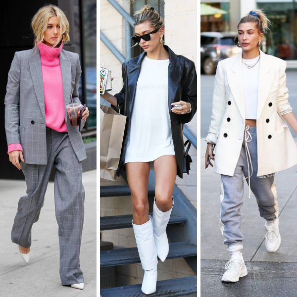 How to dress like a celebrity for Fall, Hailey Bieber Fall Blazer Inspiration, Hailey Bieber style, Hailey Bieber outfits, Hailey Baldwin outfits, outfit ideas for women, fall outfit ideas for women, best blazers for Fall, fall blazer trends, fall 2020 blazer trends, blazer outfit ideas for fall, how to style a blazer for Fall, fall outerwear outfit ideas, best layer for fall, fall layered outfits, Jennifer Worman, Red Soles and Red Wine