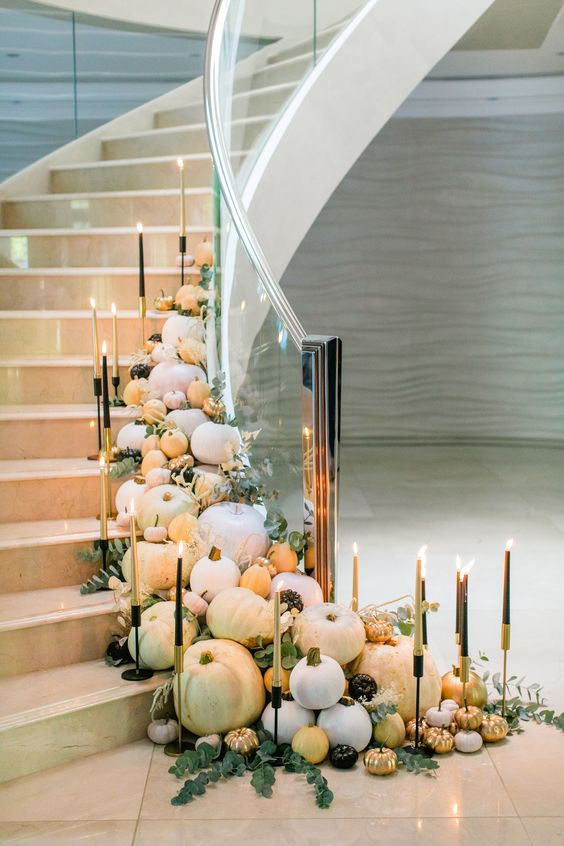 glam fall pumpkin stairs idea, gold and neutral pumpkin ideas, gold fall decor, fall party decor, stairway decor ideas for fall, glam fall decor ideas, must have glam decor for fall, glam fall interior designs, Red Soles and Red Wine, Jennifer Worman