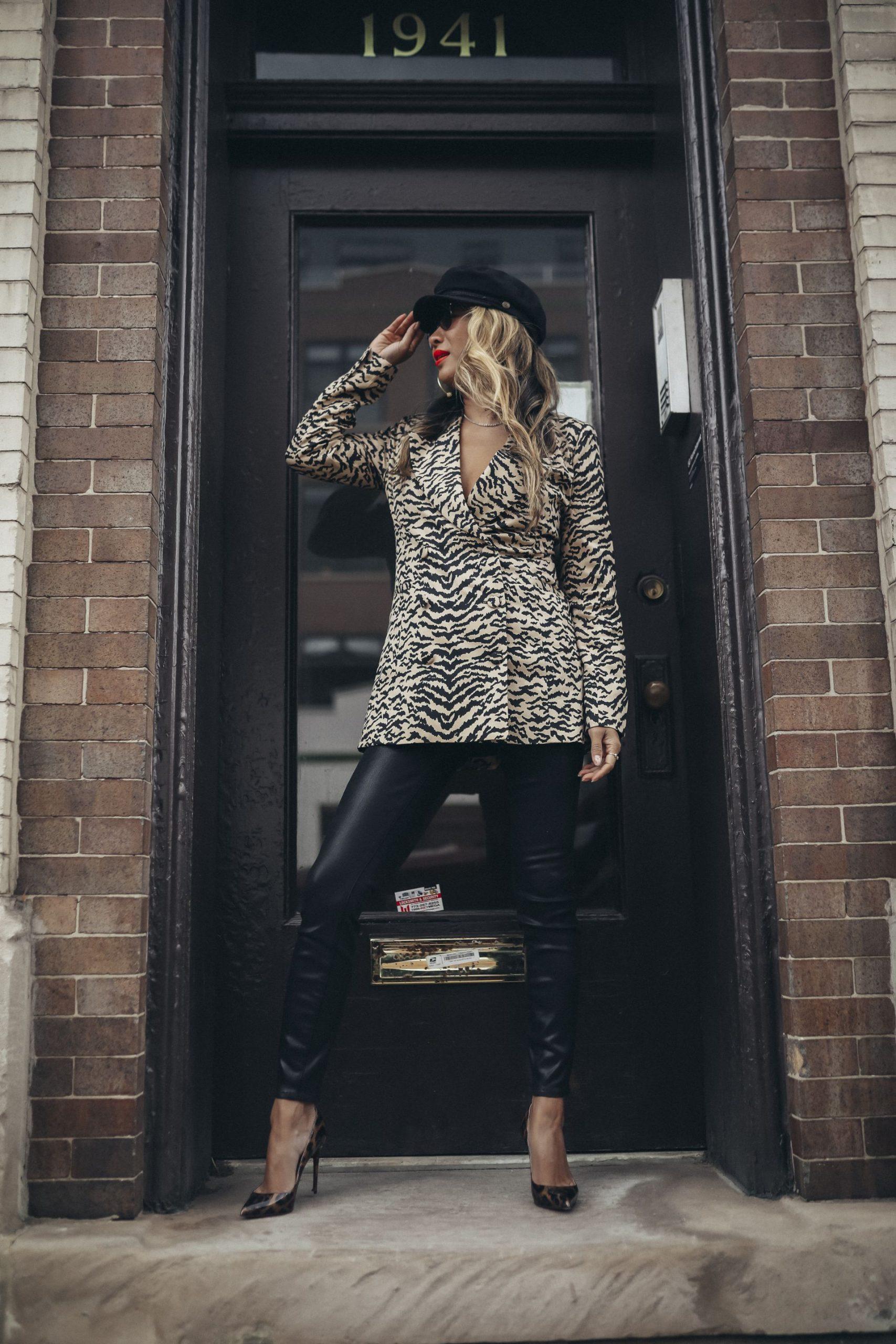 Good American coated Denim, Good American zebra print blazer, Jennifer Worman, Best Chicago Blogger