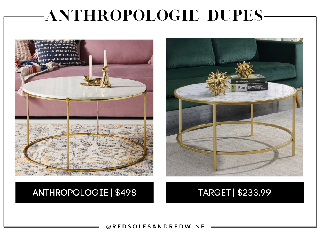 Leavenworth Marble Coffee Table anthropologie dupes, Anthropologie furniture dupes, best dupes for anthropologie, affordable anthropologie dupes, Red Soles and Red Wine, Jennifer Worman