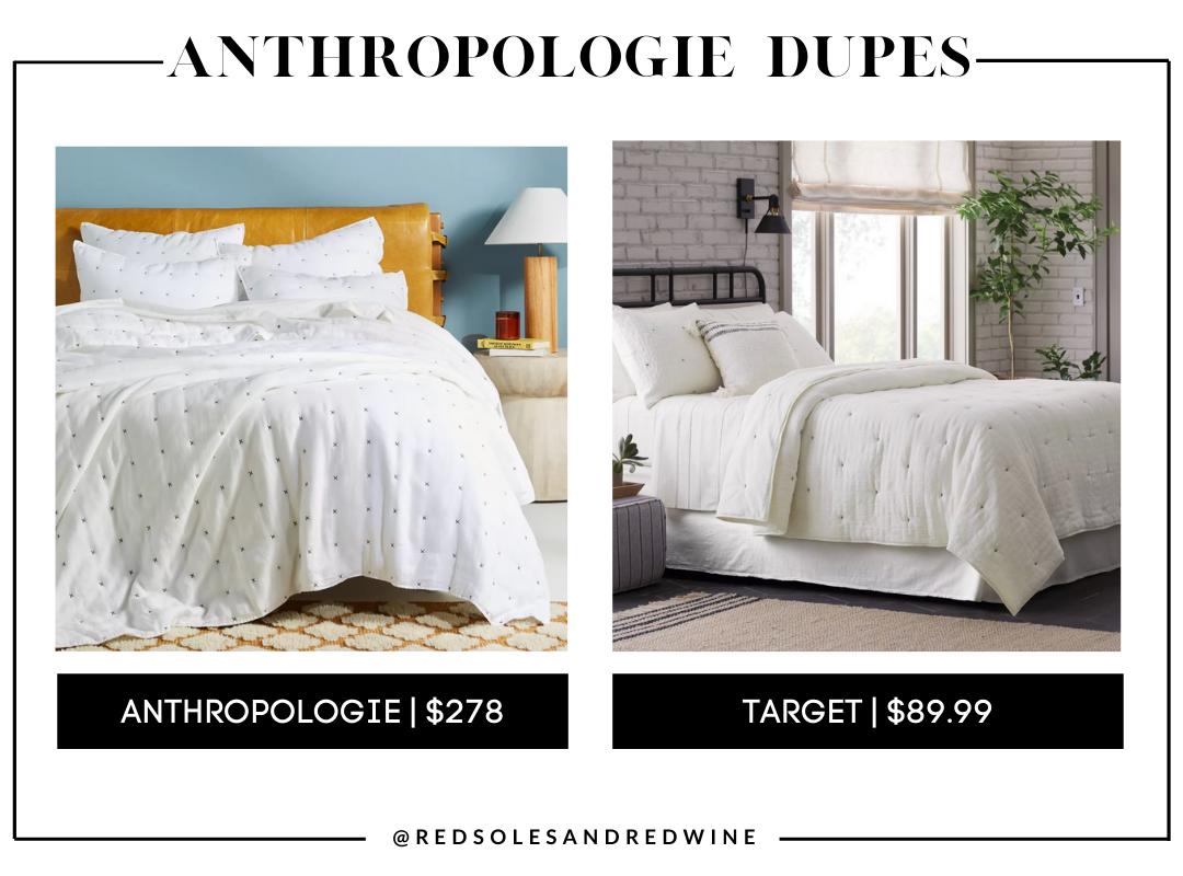 Moderna Linen Quilt anthropologie dupes, Anthropologie furniture dupes, best dupes for anthropologie, affordable anthropologie dupes, Red Soles and Red Wine, Jennifer Worman