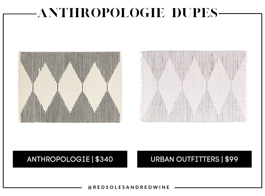 Tufted Granada Diamond Rug anthropologie dupes, Anthropologie furniture dupes, best dupes for anthropologie, affordable anthropologie dupes, Red Soles and Red Wine, Jennifer Worman