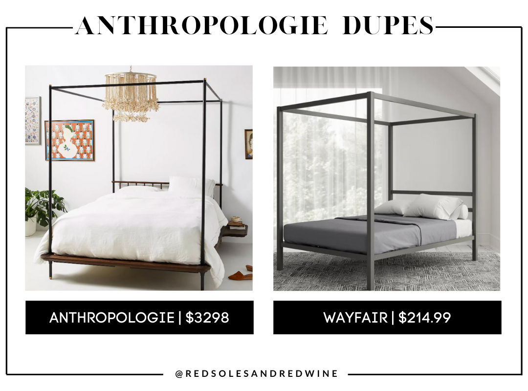 Anthropologie Kalmar Canopy Bed dupes, anthropologie canopy bed frame dupes, Anthropologie furniture dupes, best dupes for anthropologie, affordable anthropologie dupes, Red Soles and Red Wine, Jennifer Worman,