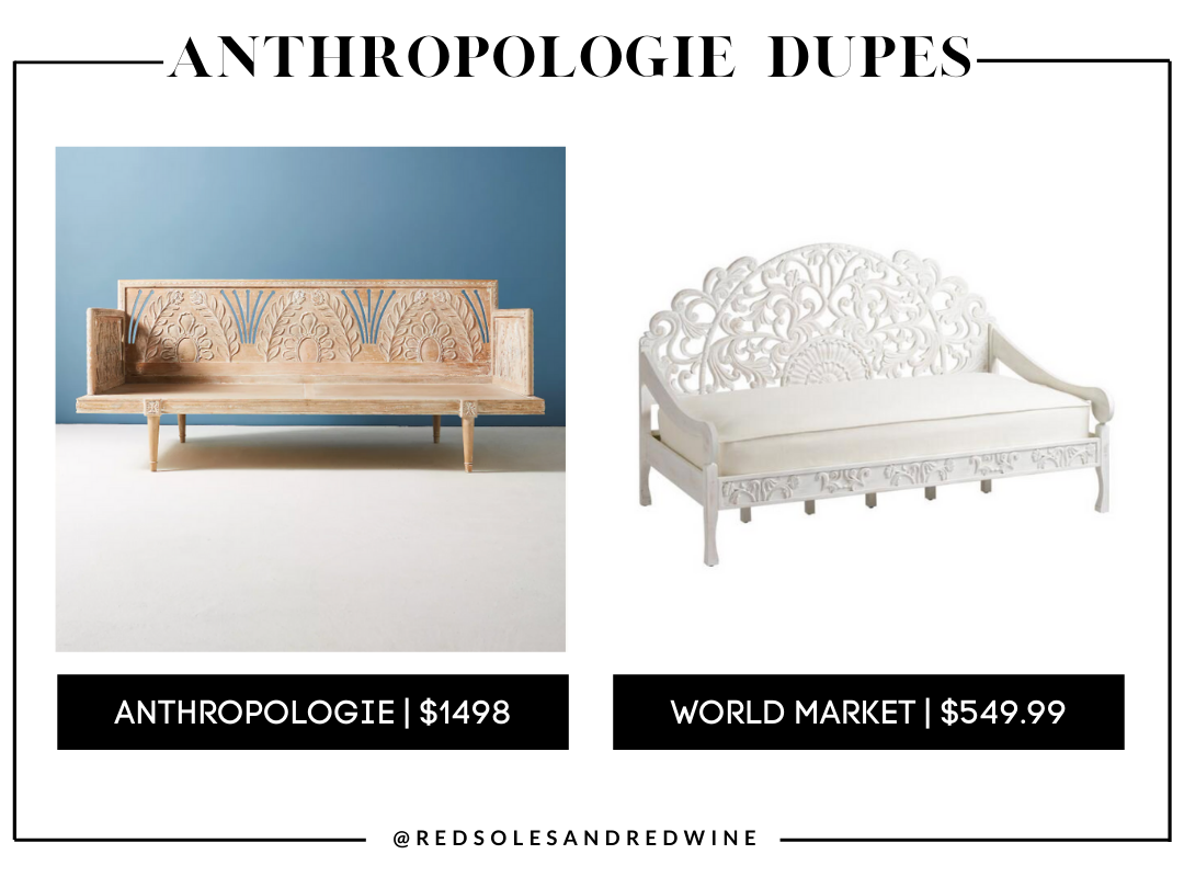 Anthropologie Carved Lovella Daybed, anthropologie day bed dupe, Anthropologie furniture dupes, best dupes for anthropologie, affordable anthropologie dupes, Red Soles and Red Wine, Jennifer Worman