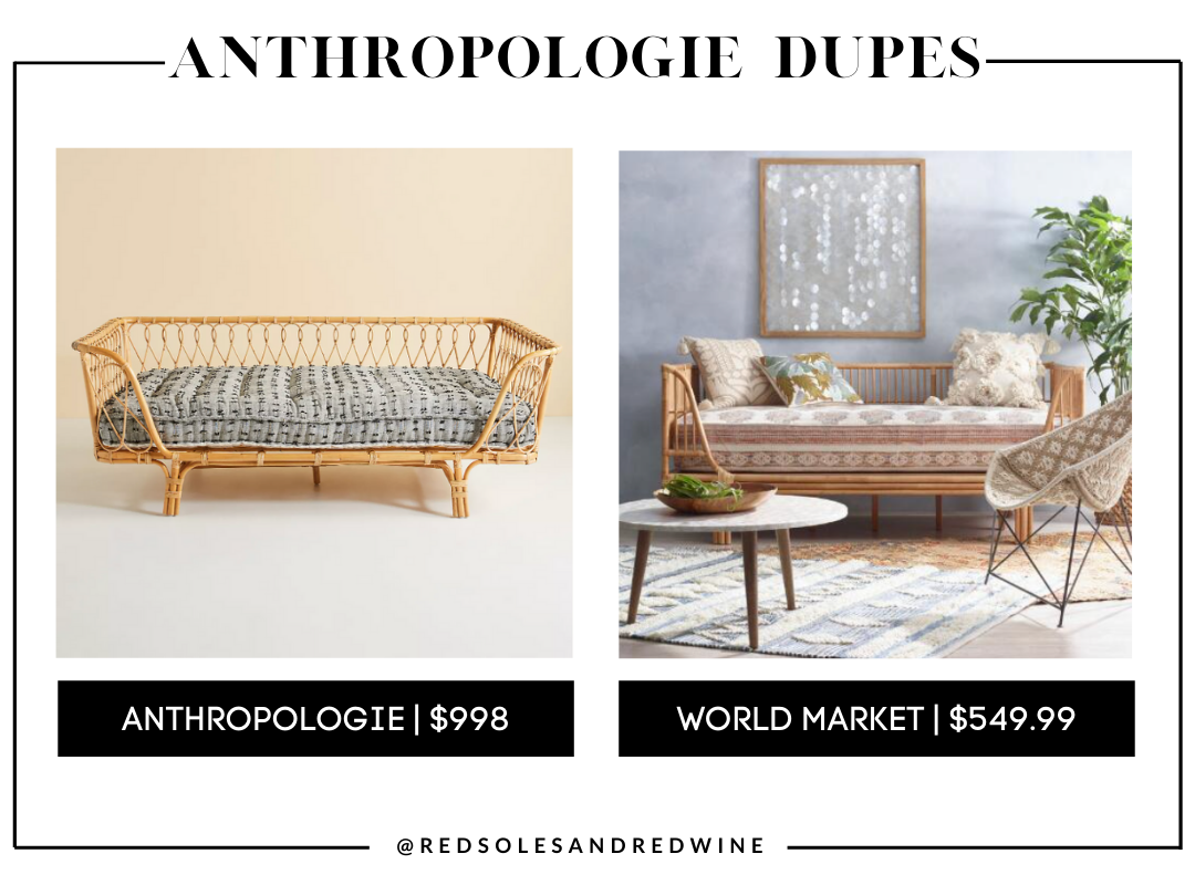 Anthropologie Venus Rattan Daybed dupes, Anthropologie furniture dupes, best dupes for anthropologie, affordable anthropologie dupes, Red Soles and Red Wine, Jennifer Worman,anthropologie rattan day bed dupes