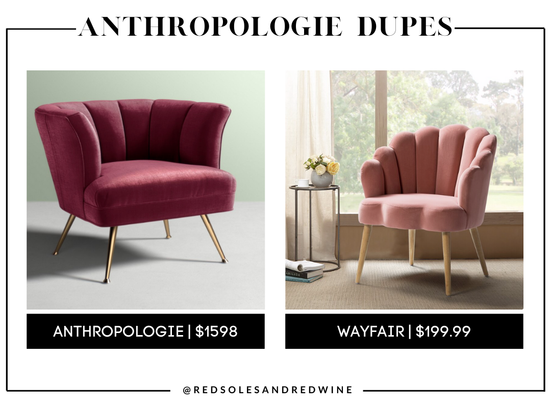 Anthropologie furniture dupes, best dupes for anthropologie, affordable anthropologie dupes, Red Soles and Red Wine, Jennifer Worman,anthropologie velvet chair dupes, Anthropologie tulip chair dupes