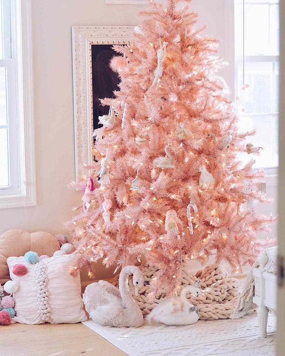 pink christmas tree decor, glam smocked tree decor ideas, christmas tree decorating ideas, christmas tree inspiration, faux christmas tree decor inspiration, holiday decor, Red Soles and Red Wine, Jennifer Worman