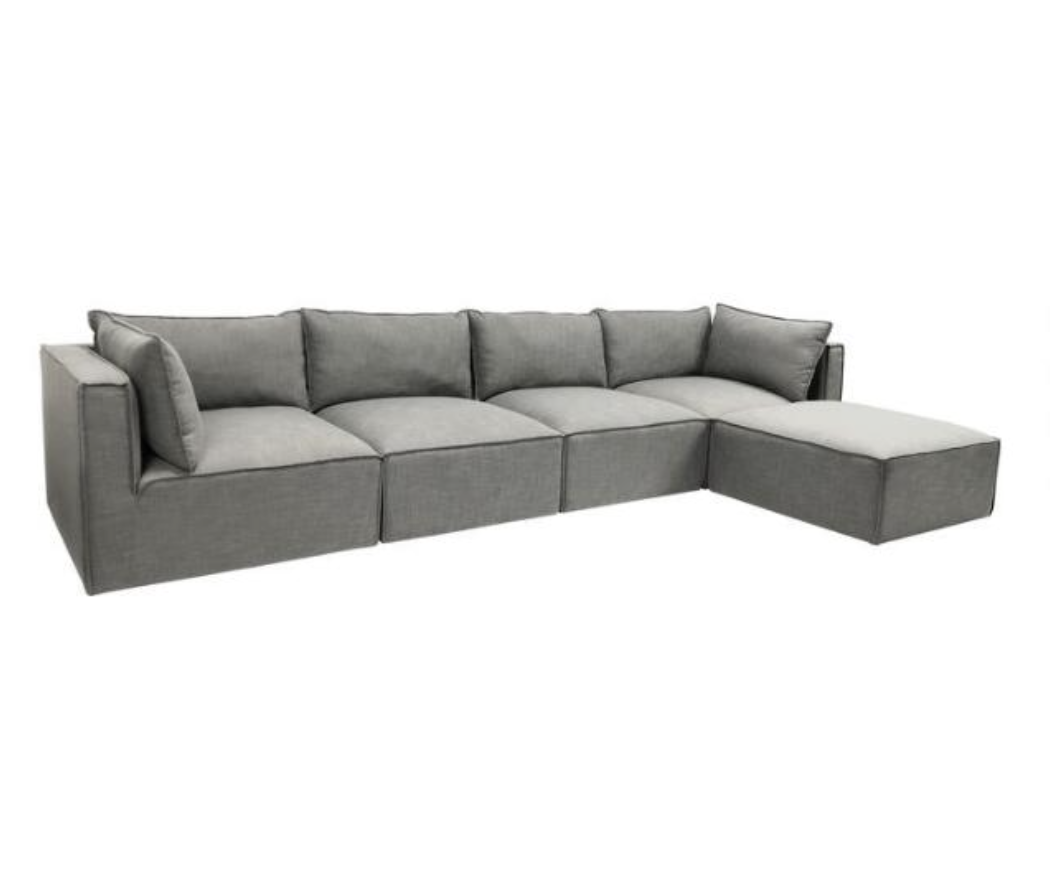Gray Tyson 5 Piece L Modular Sectional Sofa, Dupes for the Restoration Hardware cloud couch, RH cloud couch dupes, affordable versions of the Restoration Hardware cloud couch, modular sofa dupes, restoration hardware cloud sofa, CLOUD MODULAR SOFA CHAISE SECTIONAL, restoration hardware dupes, affordable sectional sofas, Red Soles and Red Wine, Jennifer Worman