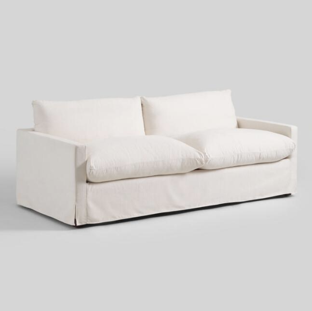 Ivory Feather Filled Brynn Sofa, Dupes for the Restoration Hardware cloud couch, RH cloud couch dupes, affordable versions of the Restoration Hardware cloud couch, modular sofa dupes, restoration hardware cloud sofa, CLOUD MODULAR SOFA CHAISE SECTIONAL, restoration hardware dupes, affordable sectional sofas, Red Soles and Red Wine, Jennifer Worman