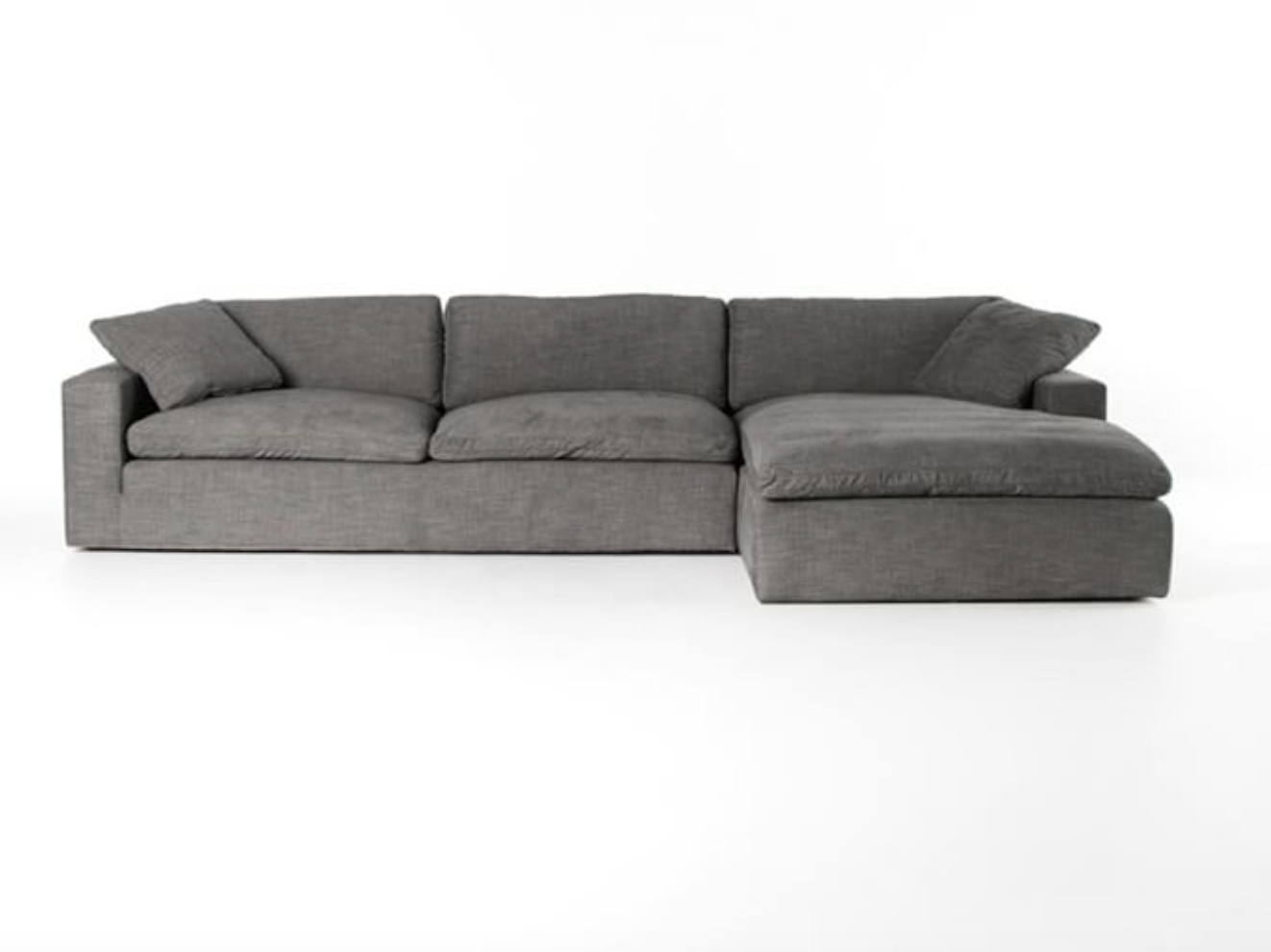 Milo Upholstered Sofa Chaise Sectional, Dupes for the Restoration Hardware cloud couch, RH cloud couch dupes, affordable versions of the Restoration Hardware cloud couch, modular sofa dupes, restoration hardware cloud sofa, CLOUD MODULAR SOFA CHAISE SECTIONAL, restoration hardware dupes, affordable sectional sofas, Red Soles and Red Wine, Jennifer Worman