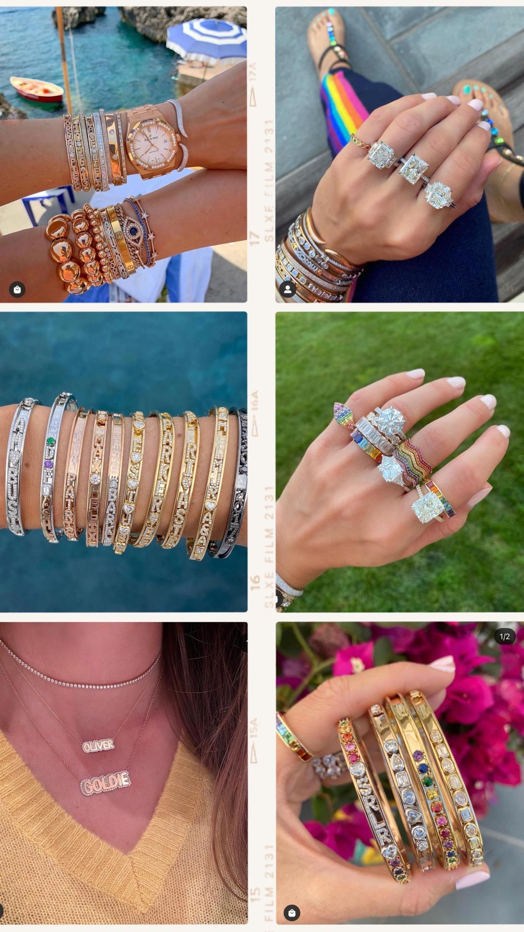 Stephanie Gottlieb, slider bracelet, best instagram jewelry, cartier bracelet stack, slider bracelet stack, personalized jewelry