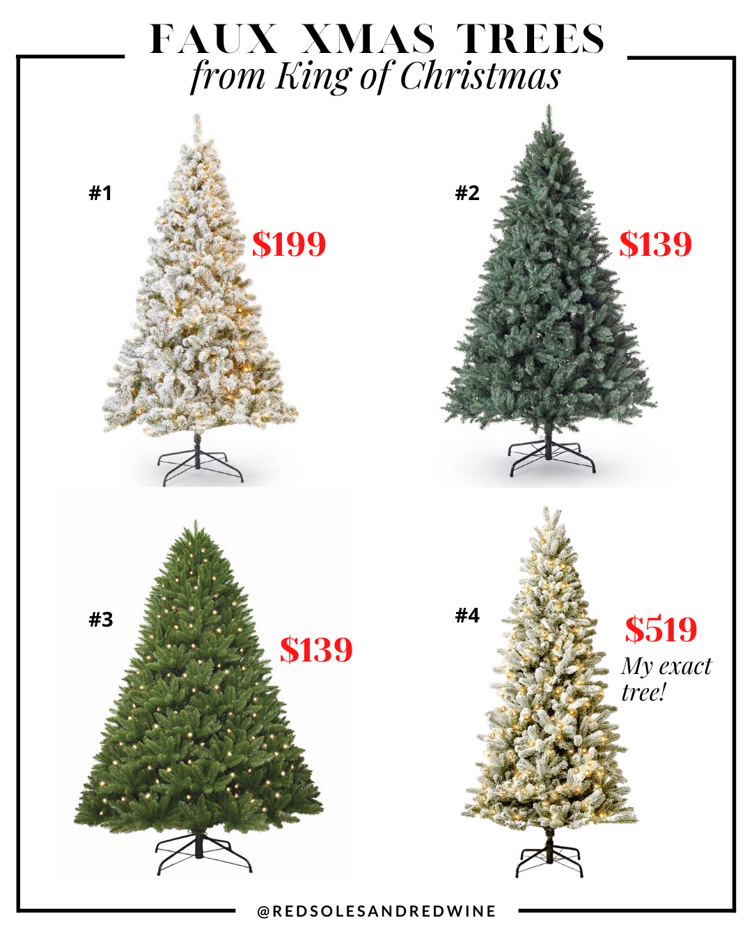 affordable artificial Christmas trees King of Christmas, affordable artificial Christmas trees, affordable faux christmas trees, realistic looking faux christmas trees, faux xmas trees, christmas tree decorating ideas, christmas tree inspiration, faux christmas tree decor inspiration, holiday decor, Red Soles and Red Wine, Jennifer Worman