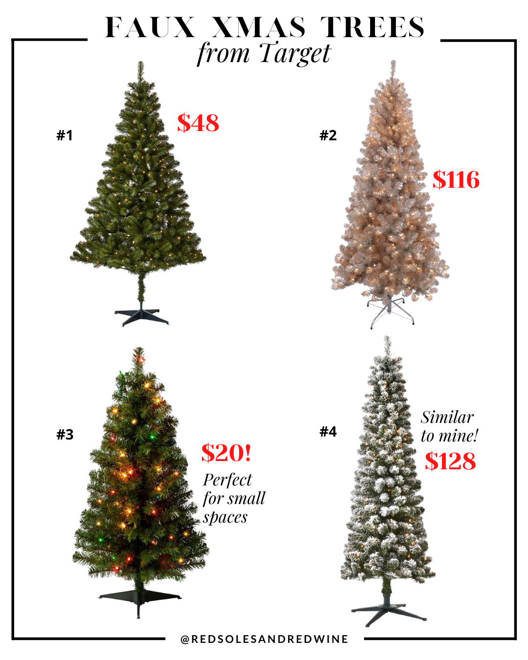 affordable artificial Christmas trees from Target, affordable artificial Christmas trees, affordable faux christmas trees, realistic looking faux christmas trees, faux xmas trees, christmas tree decorating ideas, christmas tree inspiration, faux christmas tree decor inspiration, holiday decor, Red Soles and Red Wine, Jennifer Worman