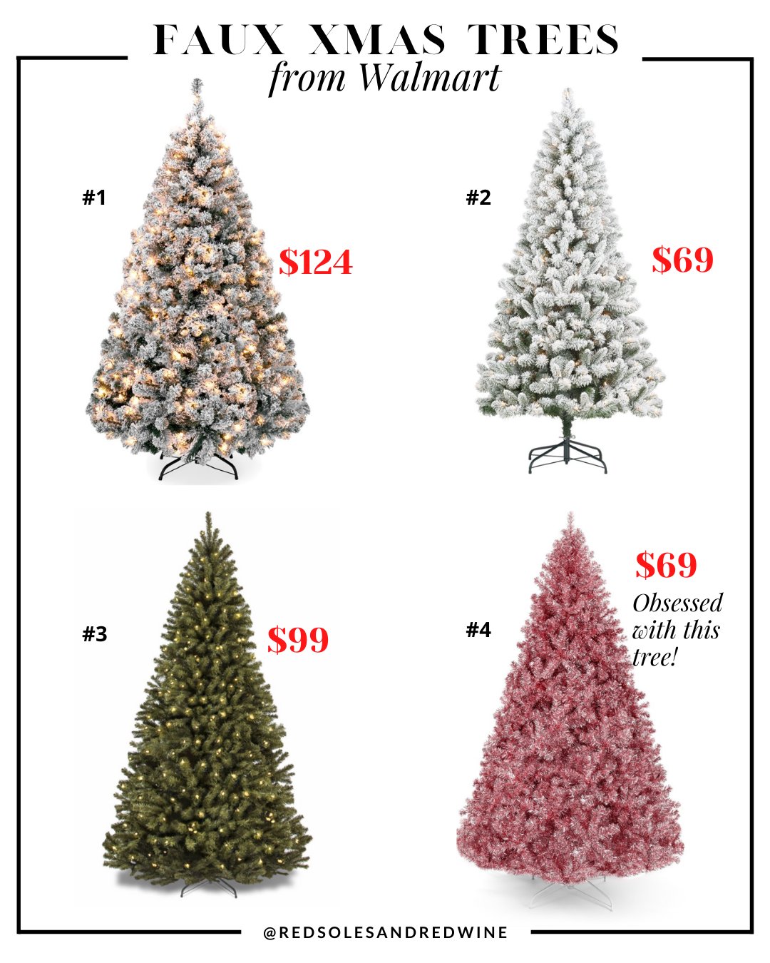 affordable artificial Christmas trees from Walmart, affordable artificial Christmas trees, affordable faux christmas trees, realistic looking faux christmas trees, faux xmas trees, christmas tree decorating ideas, christmas tree inspiration, faux christmas tree decor inspiration, holiday decor, Red Soles and Red Wine, Jennifer Worman