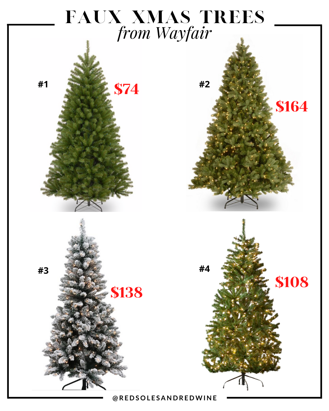 affordable artificial Christmas trees from Wayfair, affordable artificial Christmas trees, affordable faux christmas trees, realistic looking faux christmas trees, faux xmas trees, christmas tree decorating ideas, christmas tree inspiration, faux christmas tree decor inspiration, holiday decor, Red Soles and Red Wine, Jennifer Worman