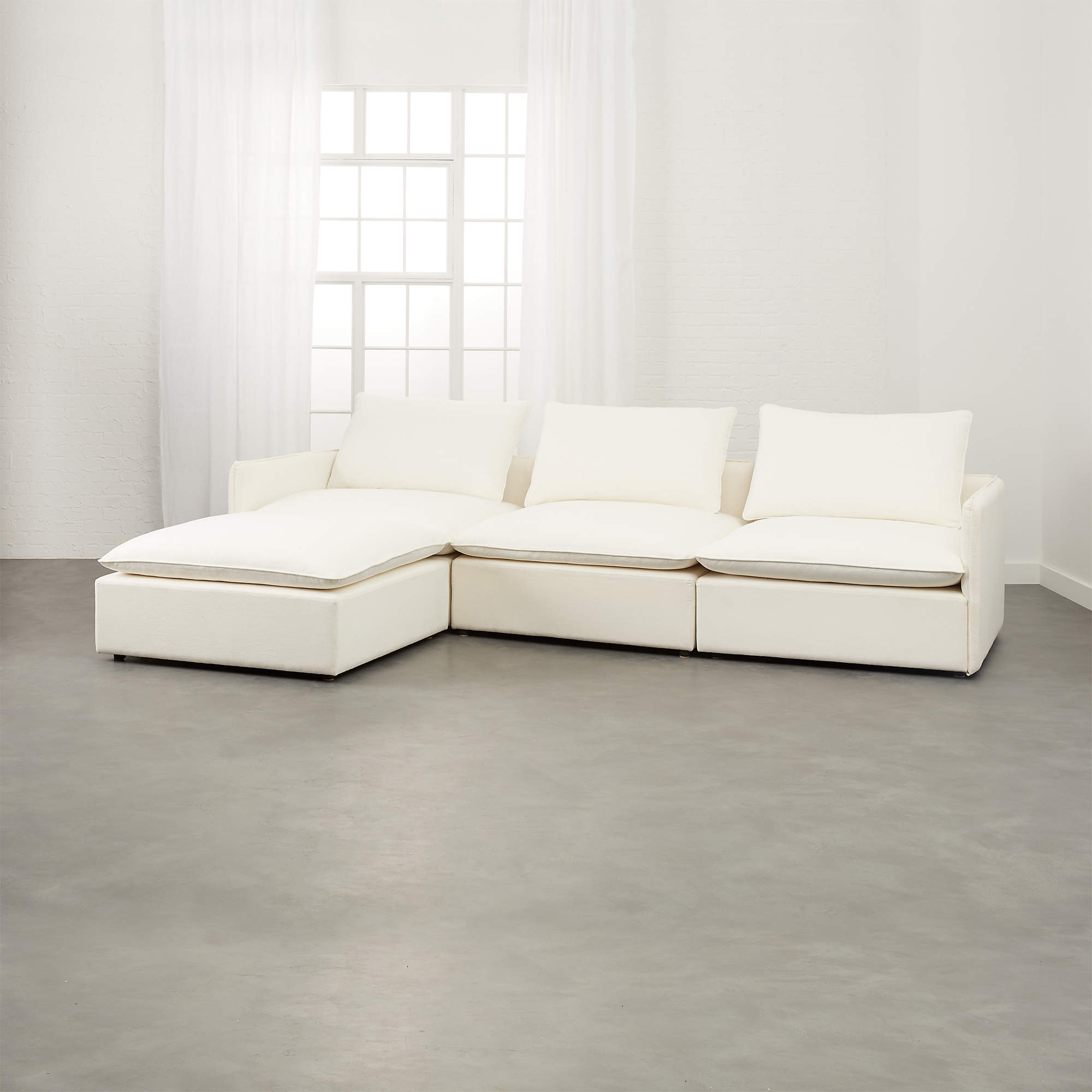 LUMIN WHITE LINEN 4-PIECE SECTIONAL SOFA, Dupes for the Restoration Hardware cloud couch, RH cloud couch dupes, affordable versions of the Restoration Hardware cloud couch, modular sofa dupes, restoration hardware cloud sofa, CLOUD MODULAR SOFA CHAISE SECTIONAL, restoration hardware dupes, affordable sectional sofas, Red Soles and Red Wine, Jennifer Worman